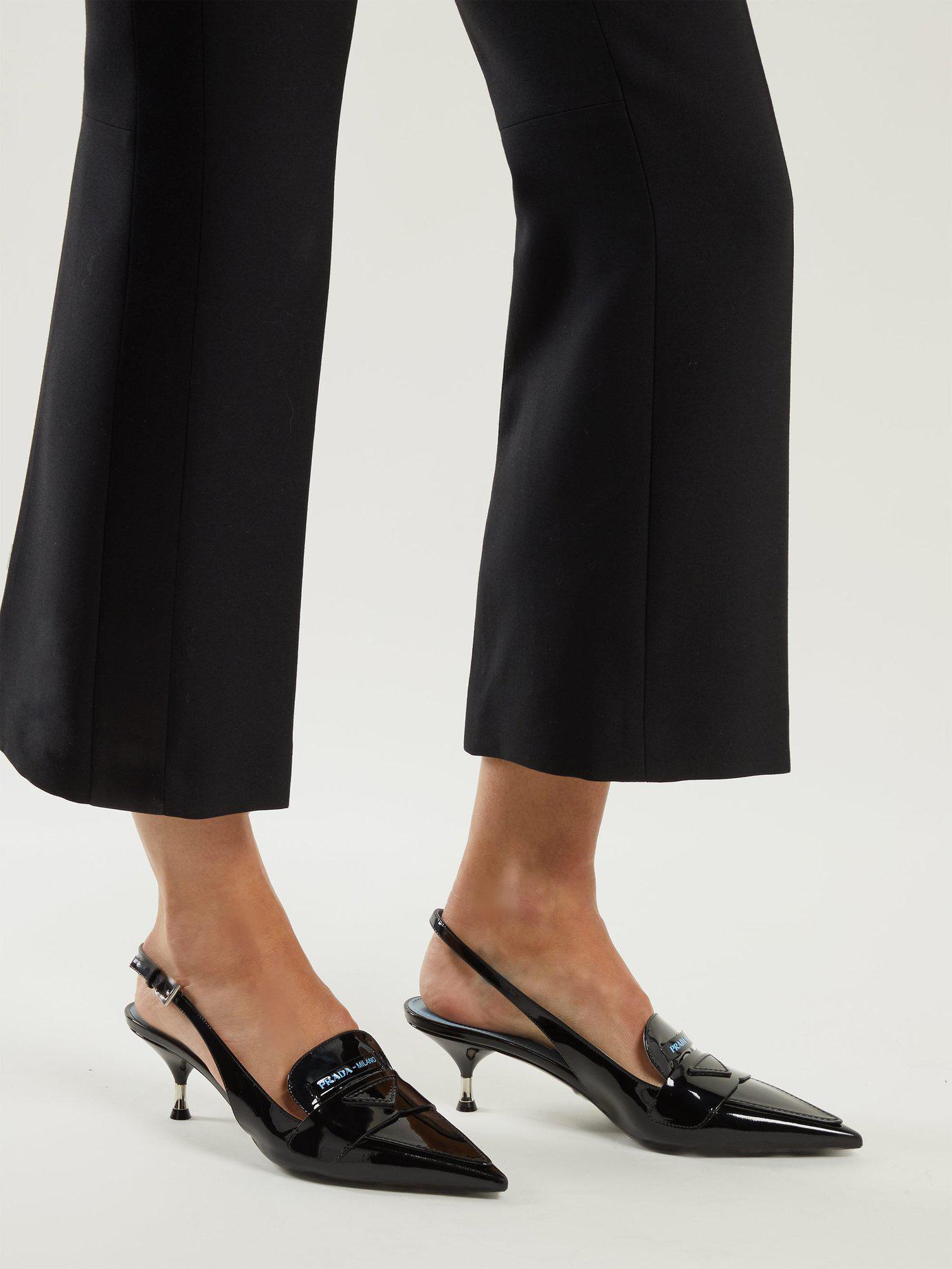 c499040f0ff Lyst - Prada Logo-embellished Kitten-heel Patent-leather Pumps in Black