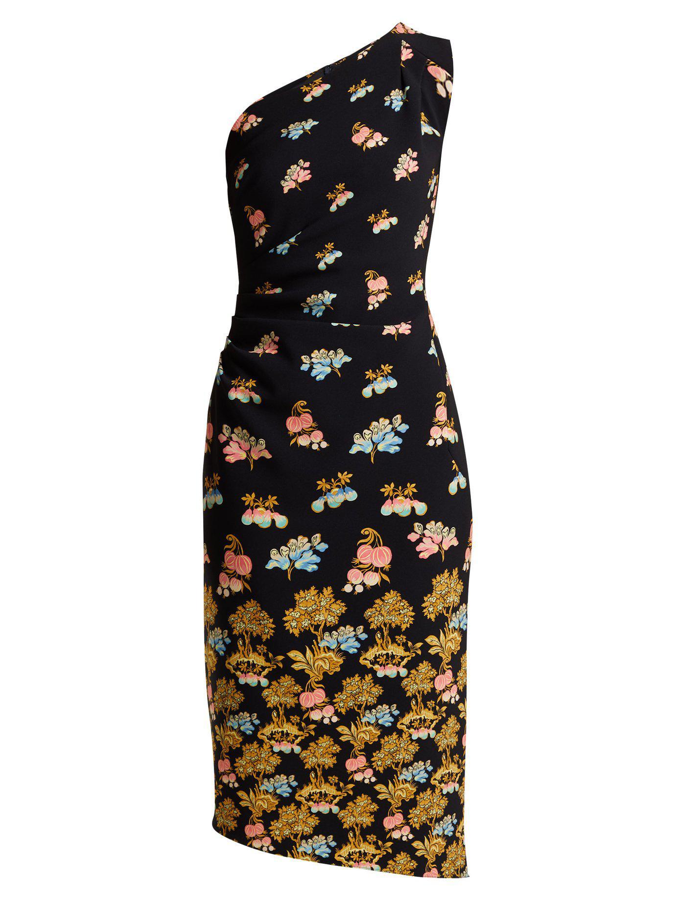 Mini-robe En Cady à Imprimé Fleuri - NoirPeter Pilotto Profitez Pas Cher En Ligne V8KU7tf