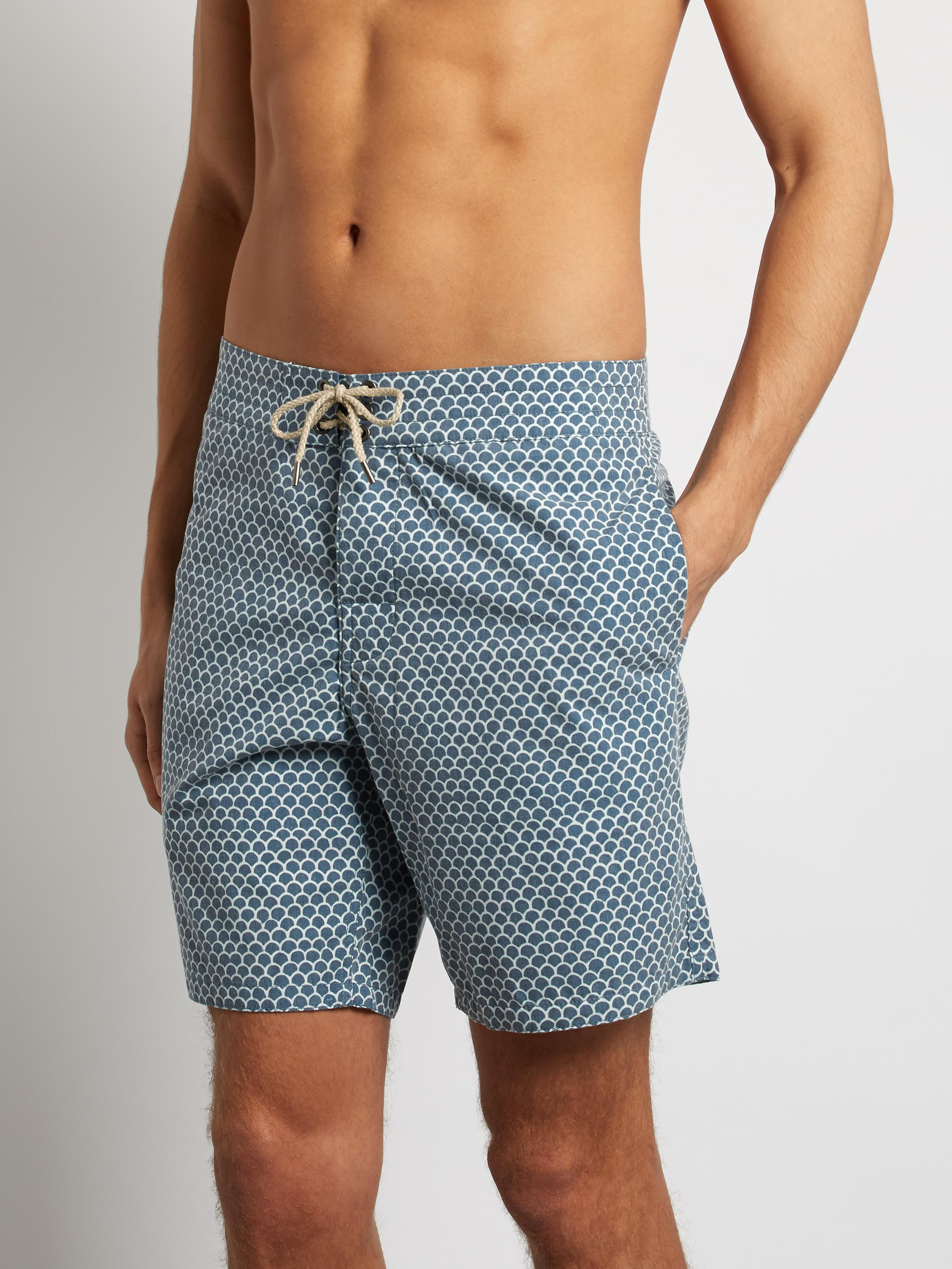 e6079d0094 Faherty Brand Fishscale-print Swim Shorts in Blue for Men - Lyst
