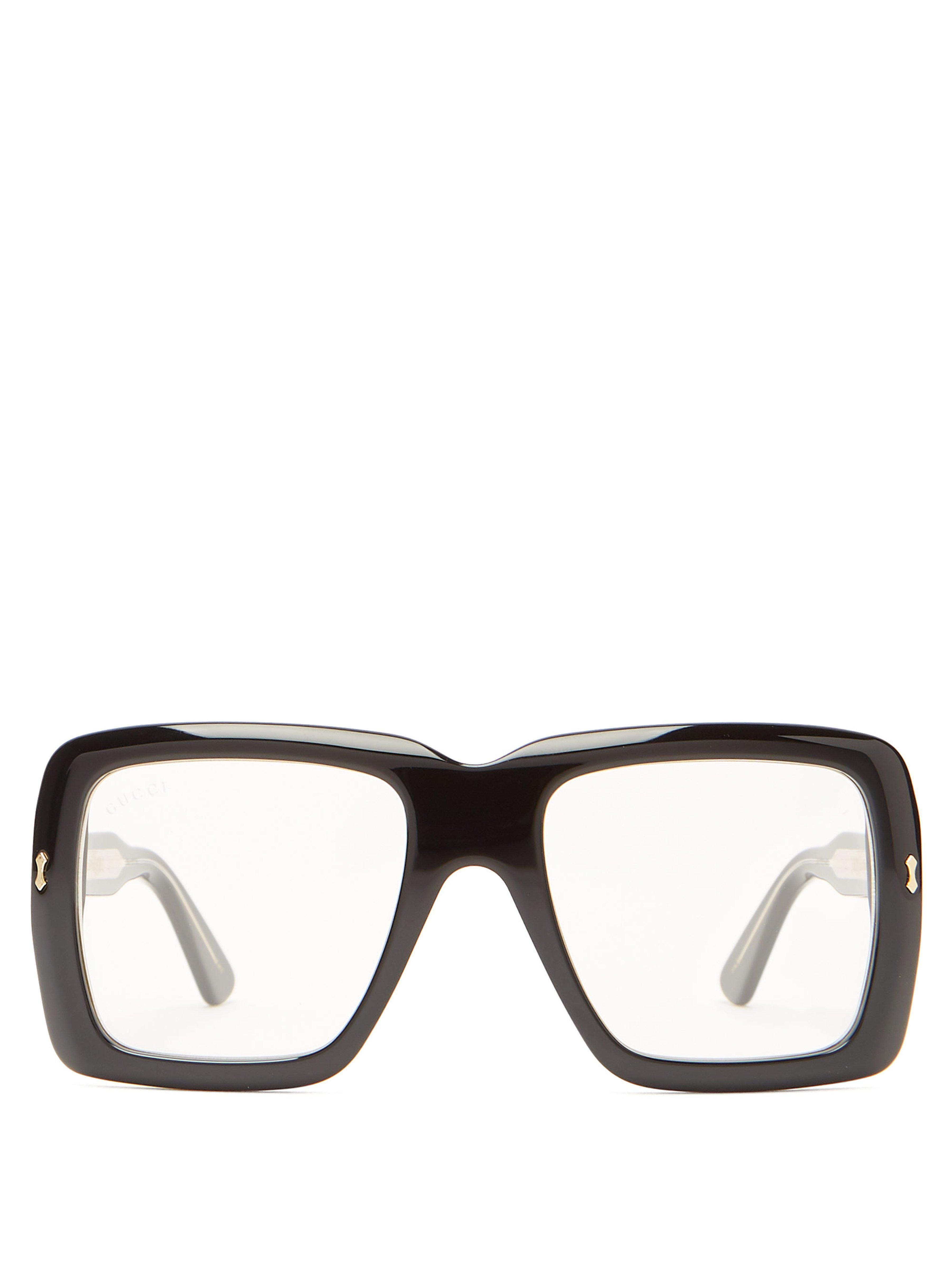 c40b9f522ac Gucci Oversized Square Frame Acetate Glasses in Black for Men - Lyst