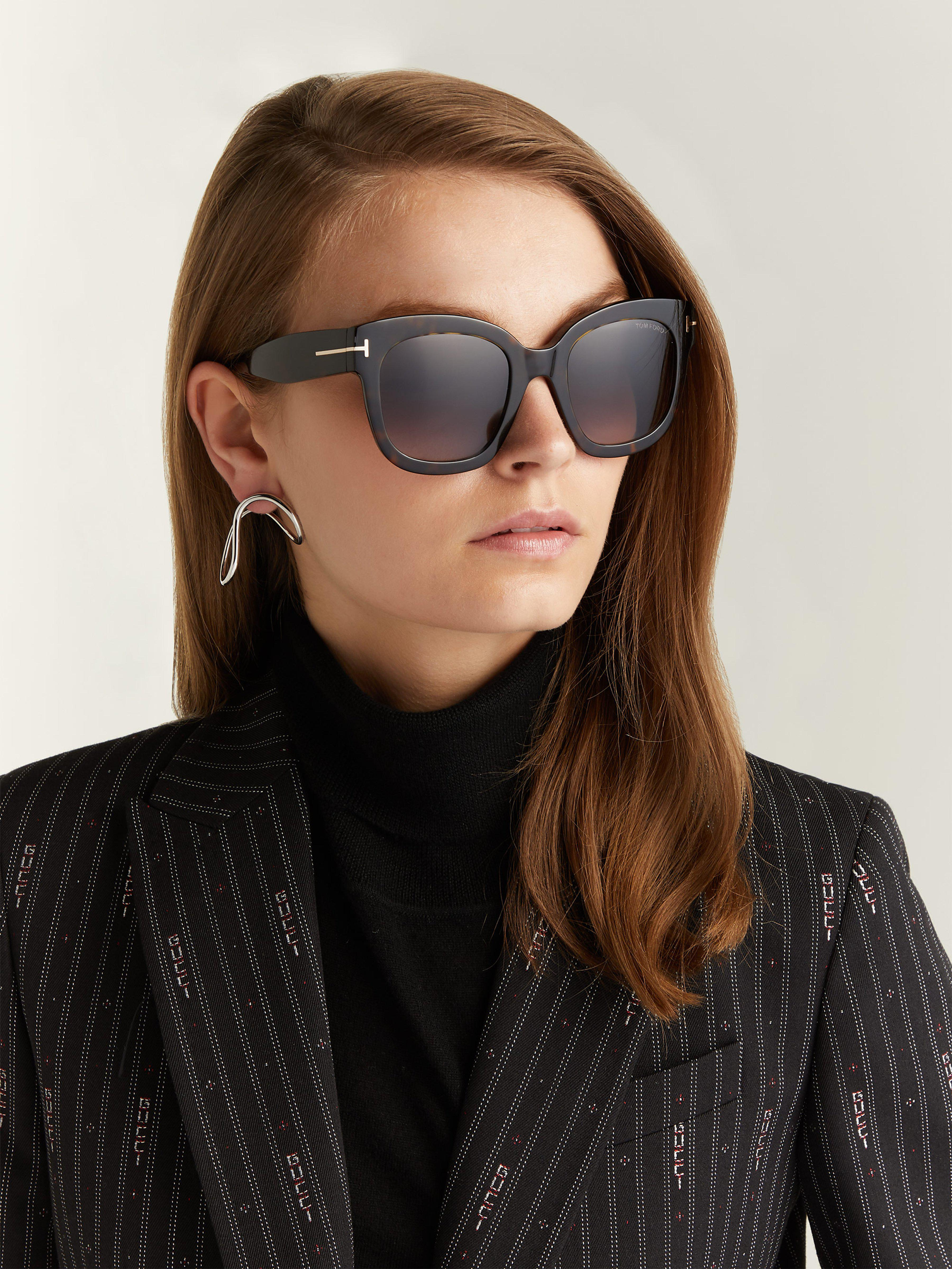 210a4c81ece44 Tom Ford Beatrix Acetate Sunglasses in Brown - Lyst