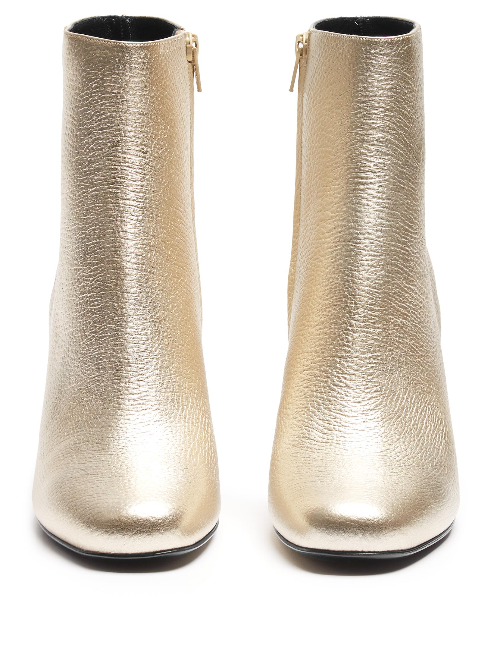 Lyst - Saint Laurent Babies Leather Ankle Boots in Metallic d80193ffe4a0
