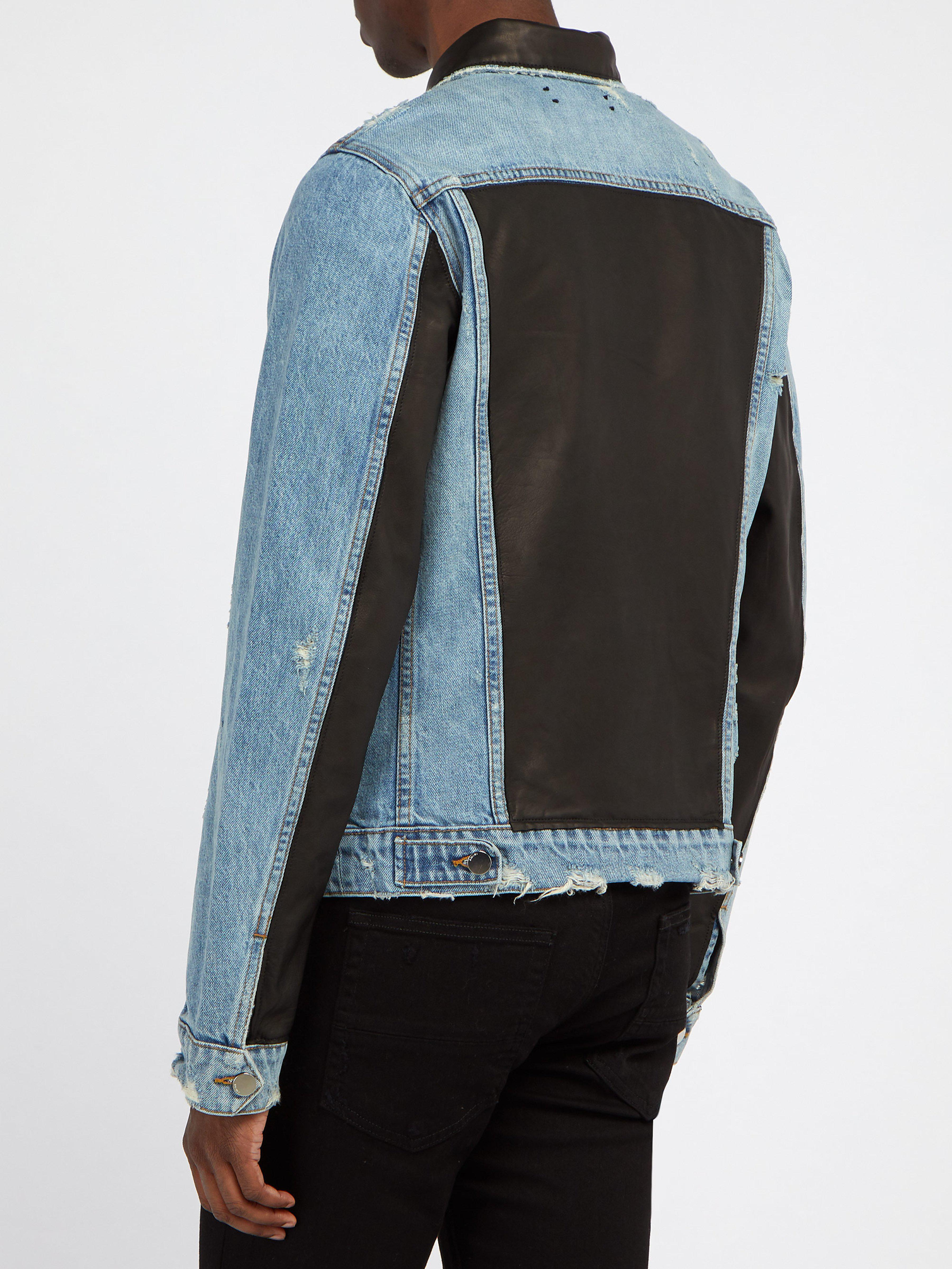 eac4cfaec Amiri Blue Leather Panelled Denim Jacket for men