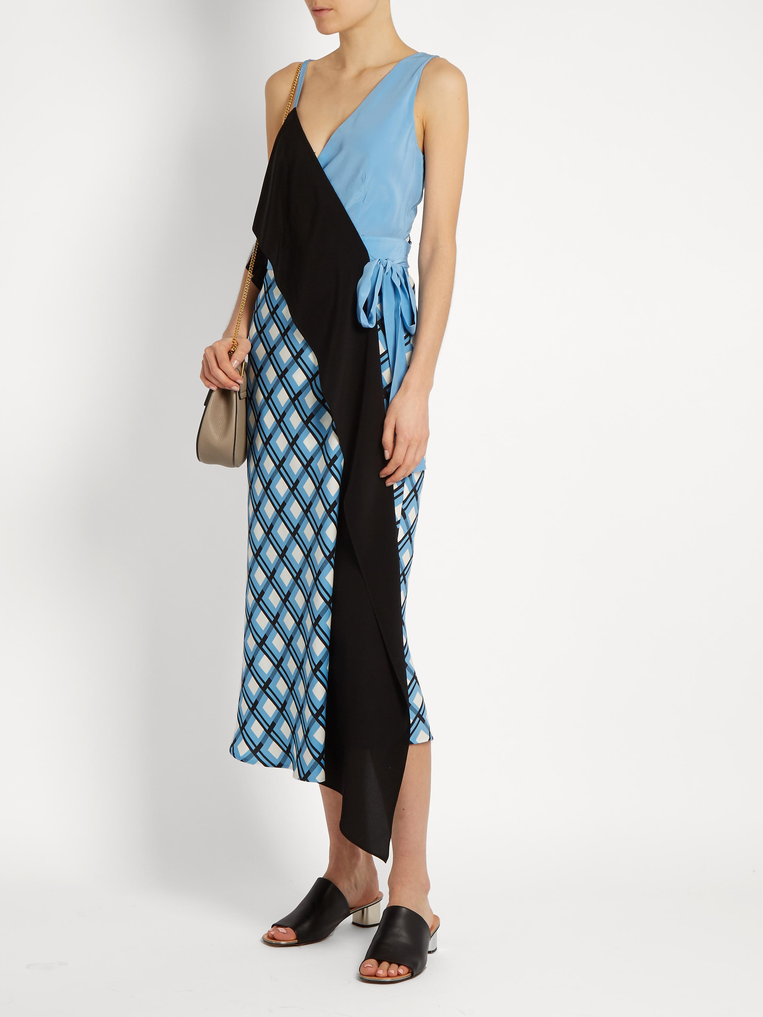 Exclusive Sale Online Footlocker Cheap Online Contrast-panel silk-blend dress Diane Von Fürstenberg Many Kinds Of Online Cheap Sale Pay With Visa Buy Cheap Footlocker Pictures U3WwpwiQD