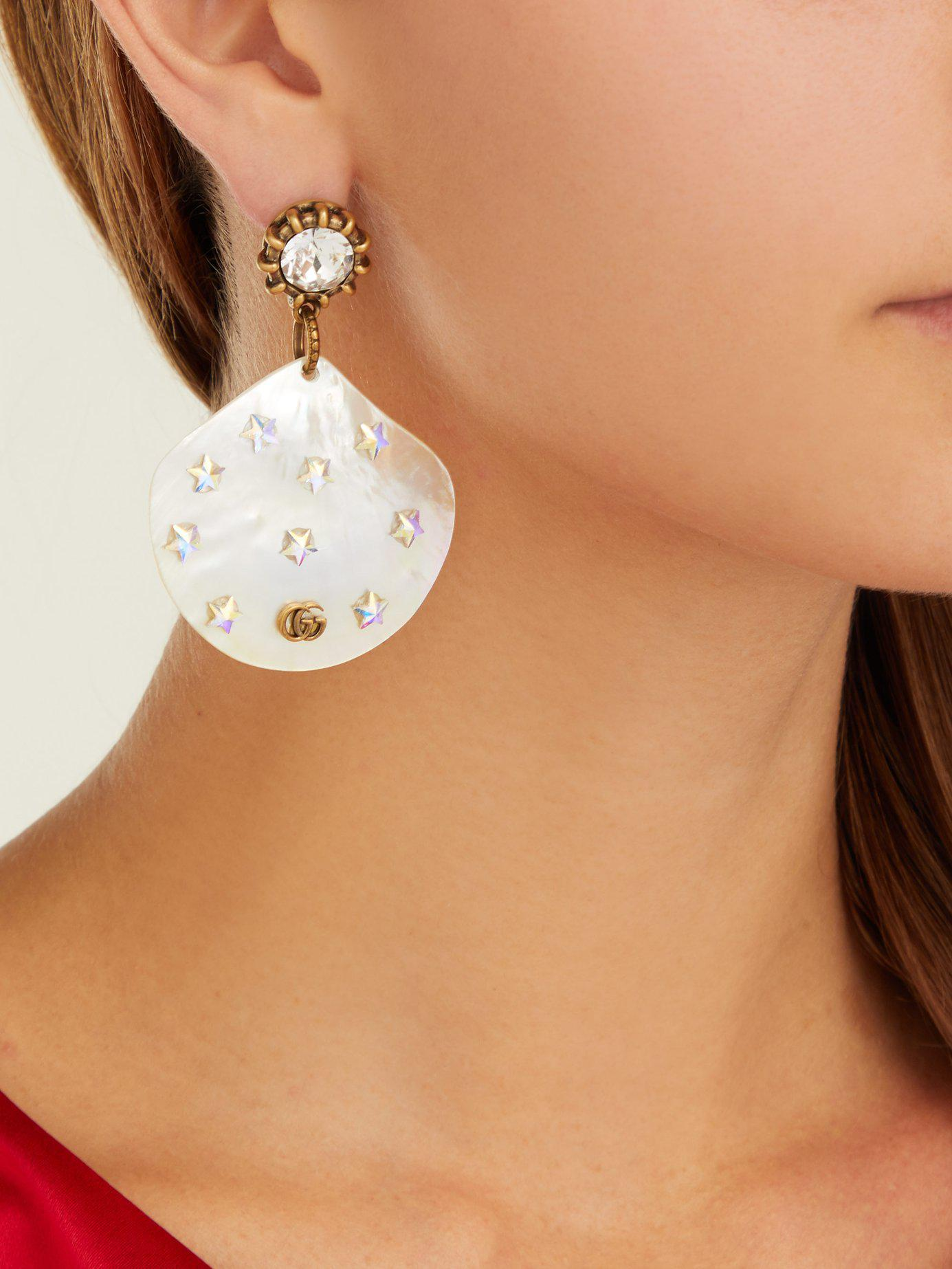 020d363e2f8 Gucci - Multicolor Gg Mother Of Pearl Drop Earrings - Lyst. View fullscreen
