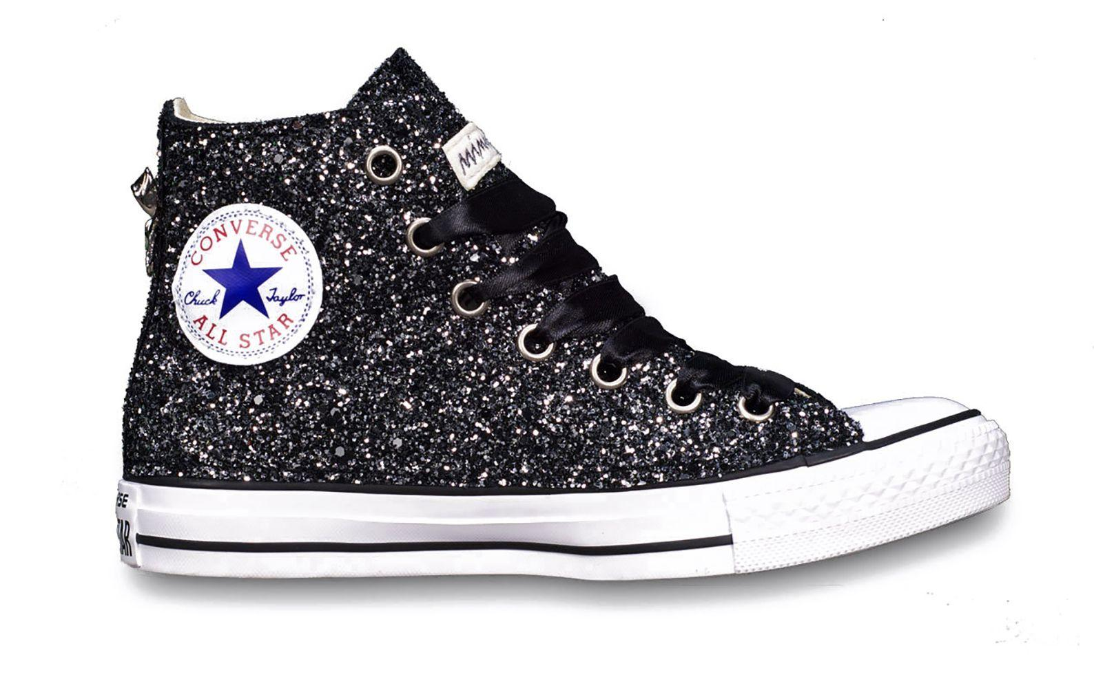 converse black glitter trainers