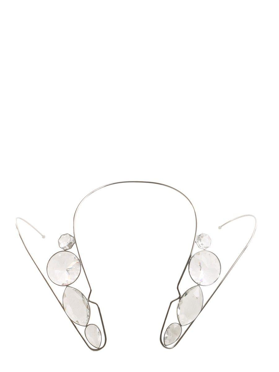 Maison Margiela Structured Crystal Necklace in Silver (Metallic)