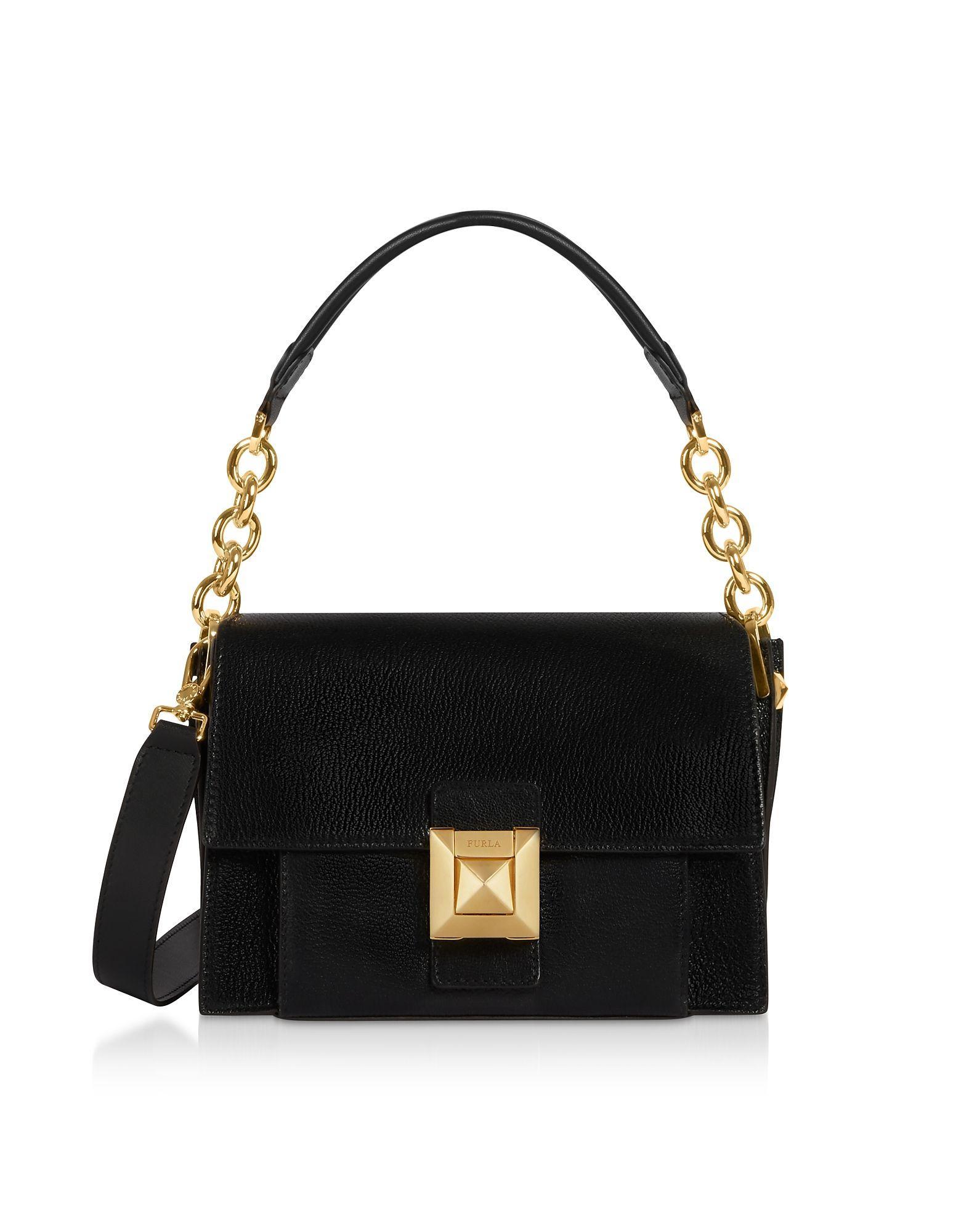 1d1825c78c456 Furla Black Leather Shoulder Bag in Black - Save 23% - Lyst