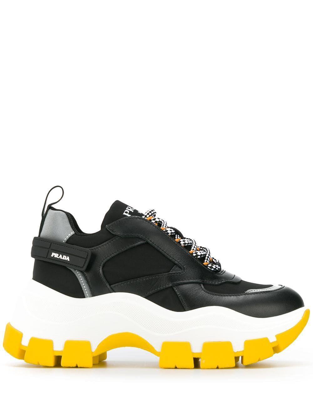 Prada Pegasus Leather Sneakers in Black