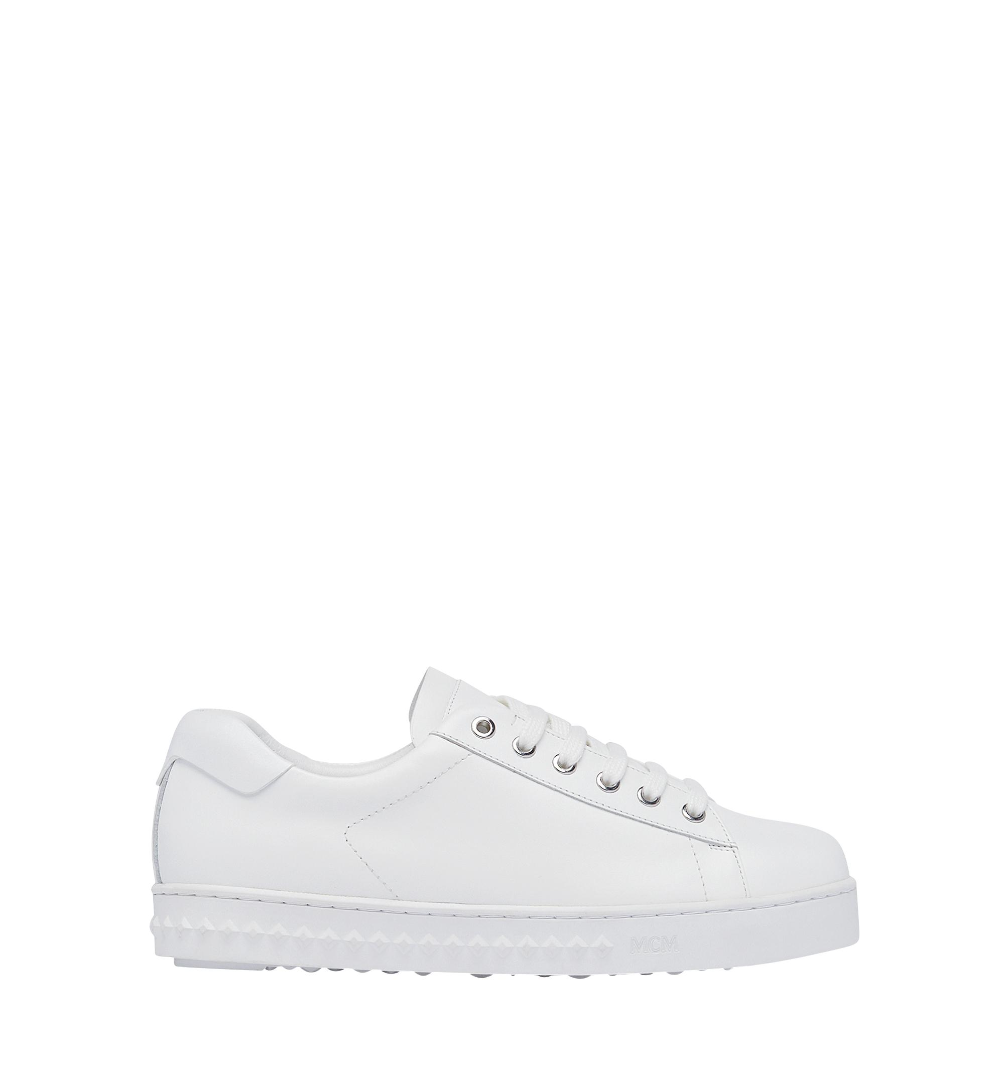 MCM Low Top Classic Sneakers In Leather in White