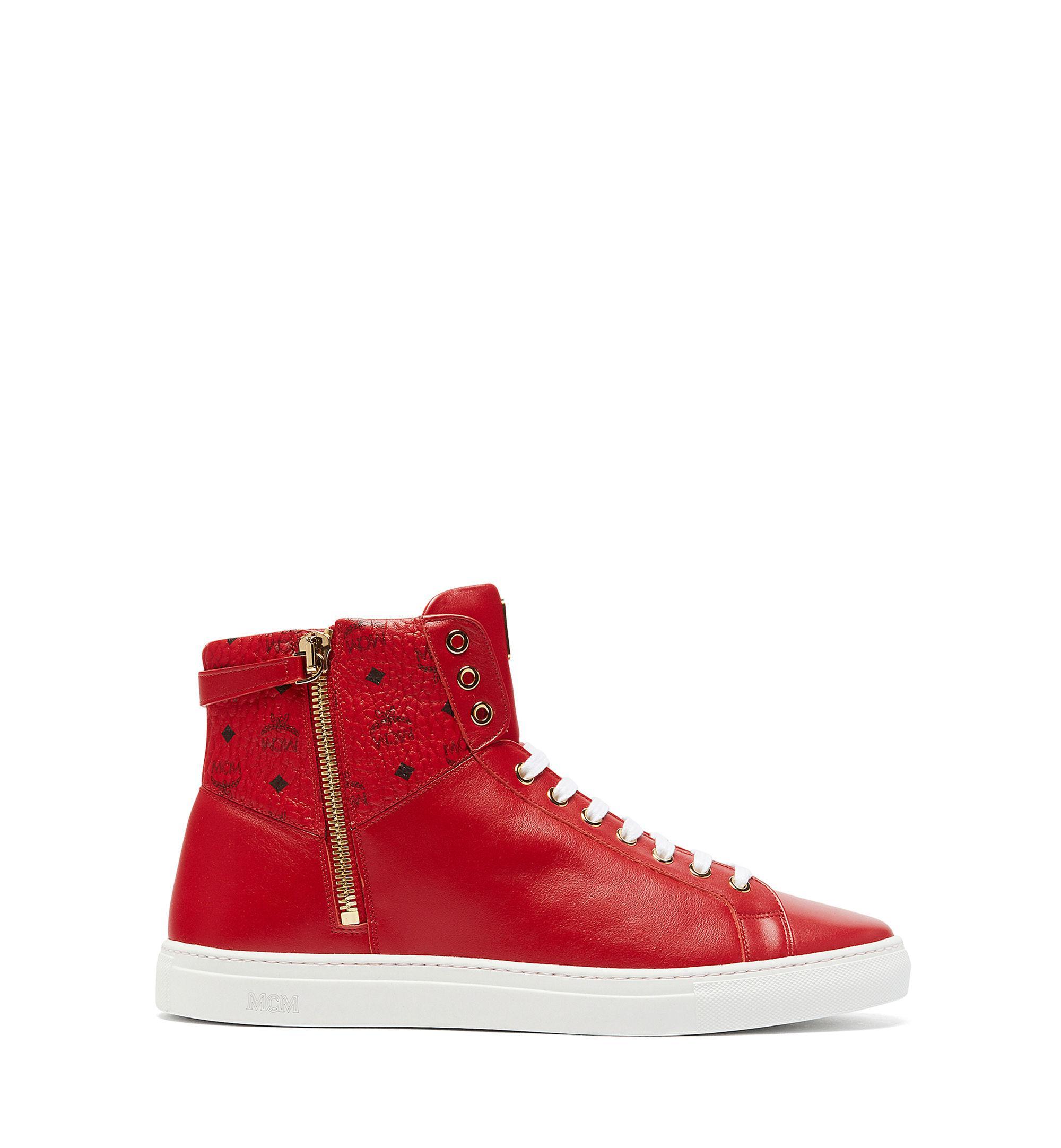 2cc1d185180 Lyst - MCM Women s Visetos Zip High Top Sneakers in Red