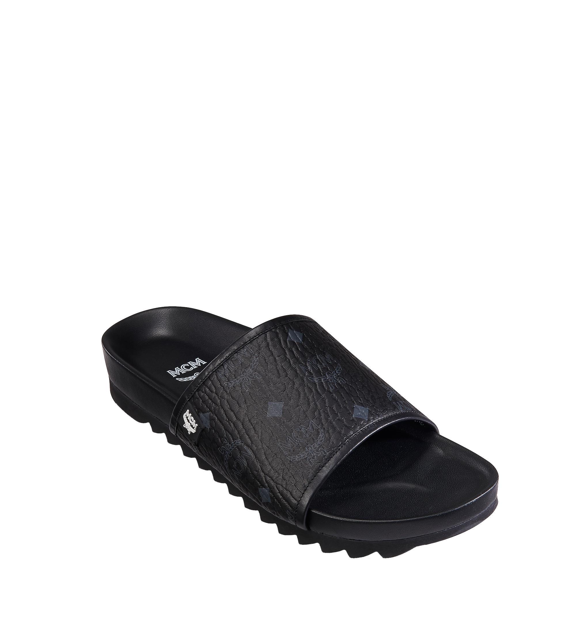 5ab2c371ba62 MCM - Black Slides In Visetos for Men - Lyst. View fullscreen
