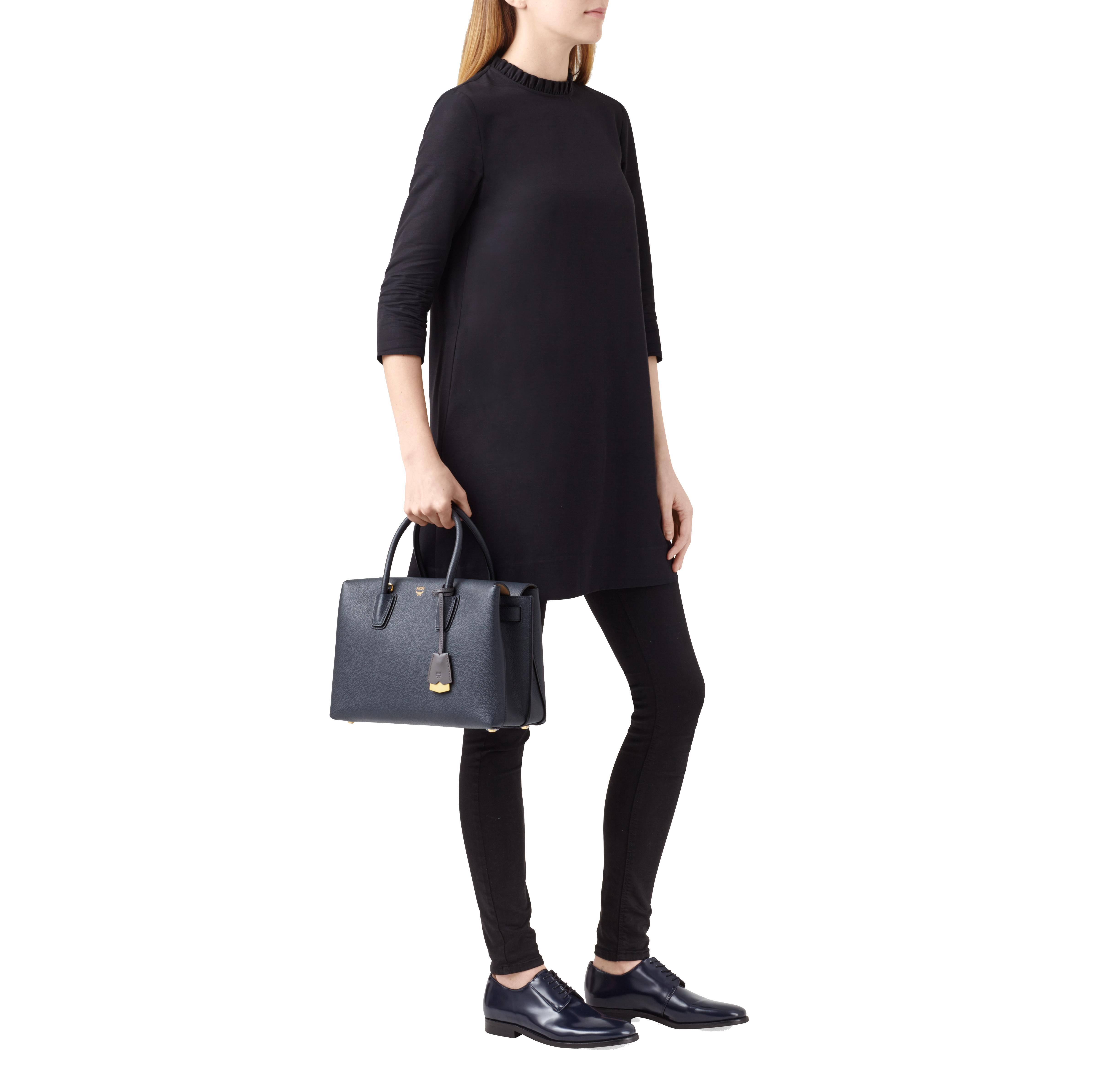 MCM Milla Tote In Grained Leather in Black