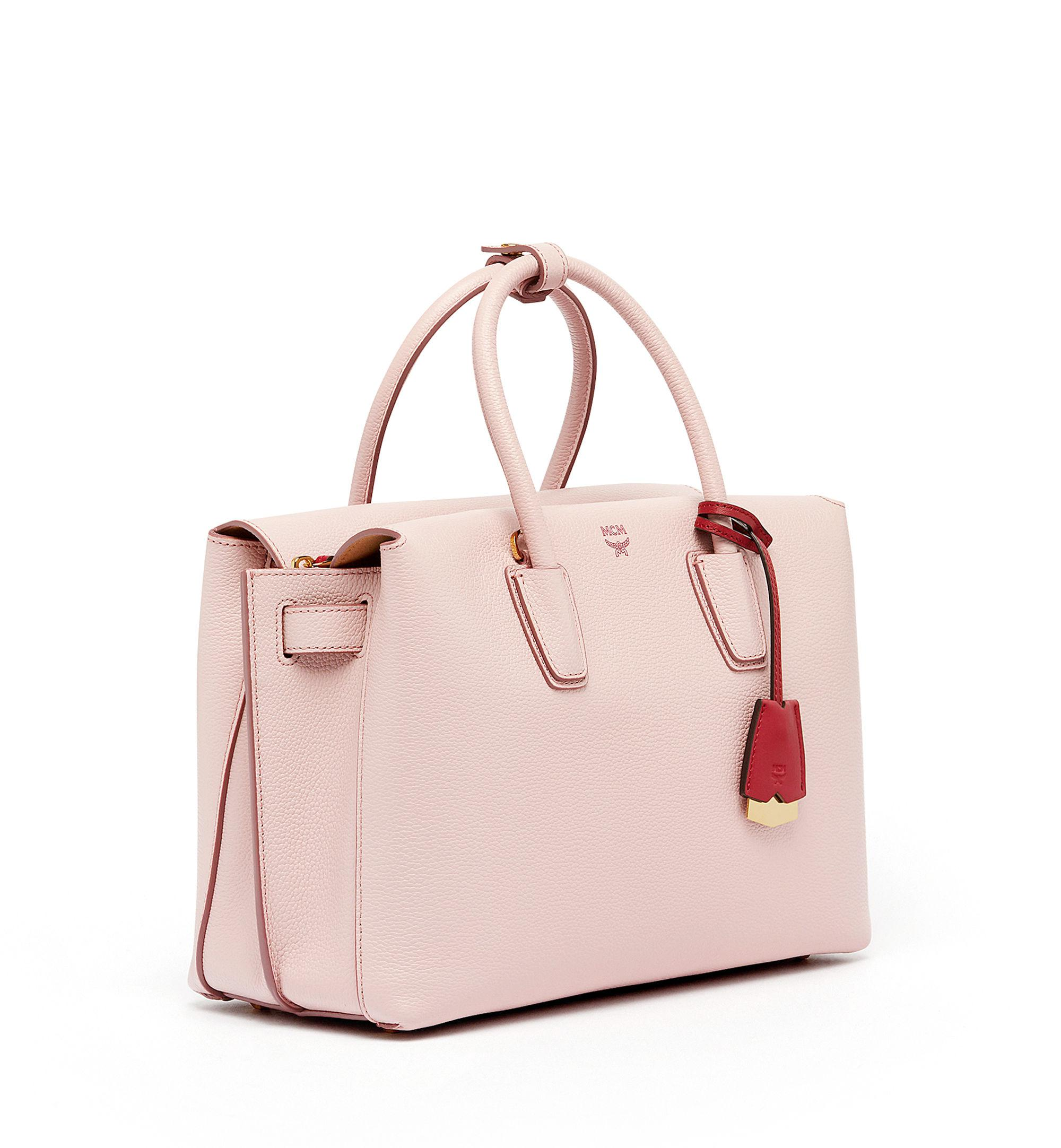 MCM Leather Milla Tote in Pale Mauve (Pink)