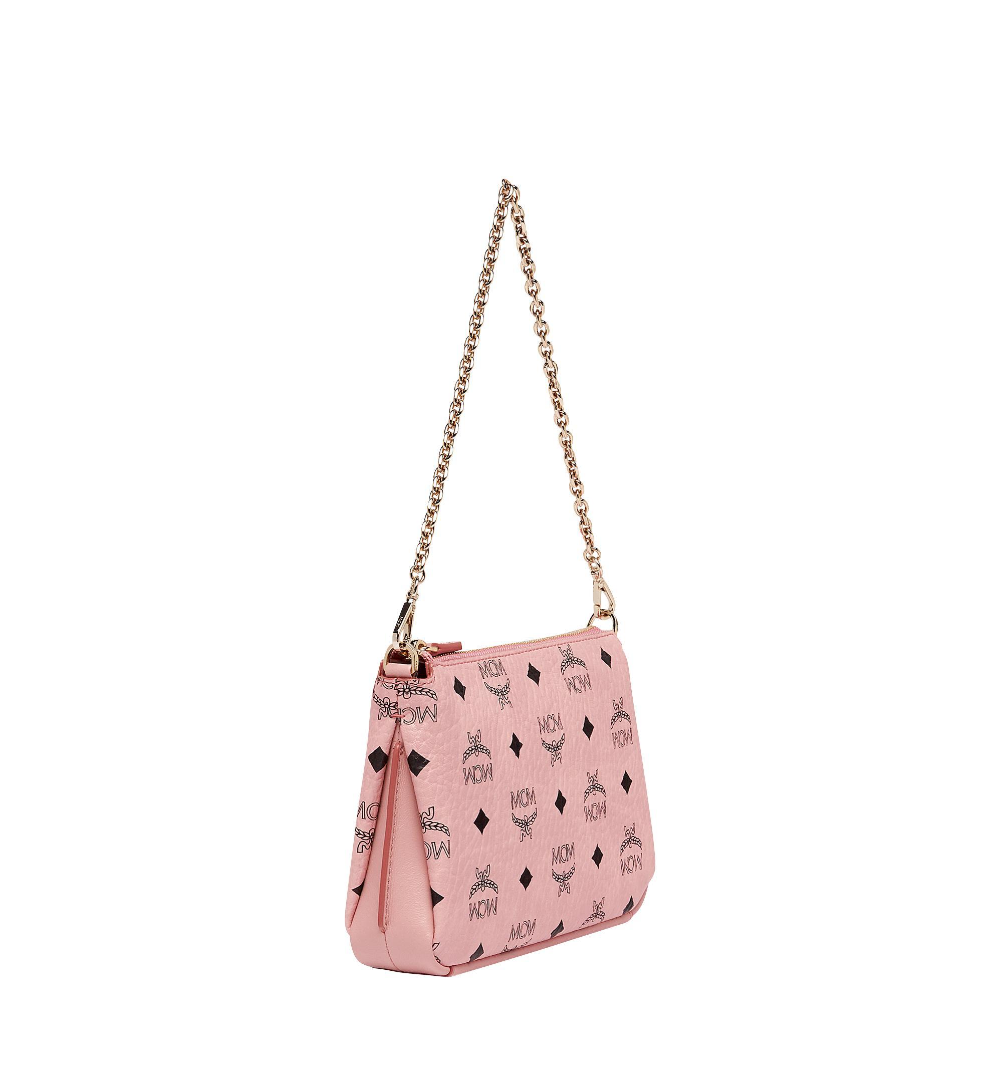 MCM Millie Top Zip Shoulder Bag Visetos Large Soft Pink