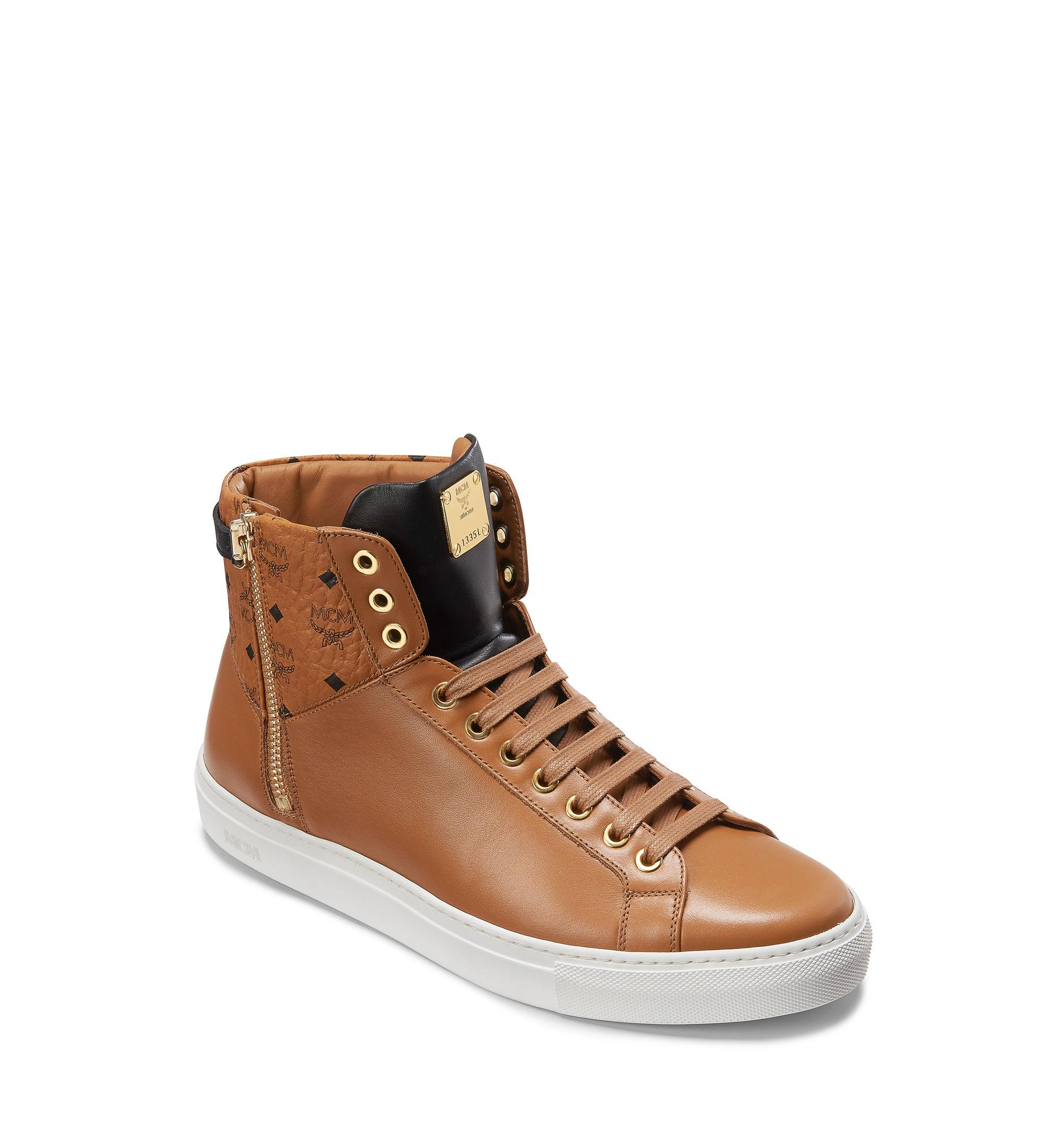 a40f412a964 Lyst - MCM High Top Classic Zip Sneakers In Leather in Brown