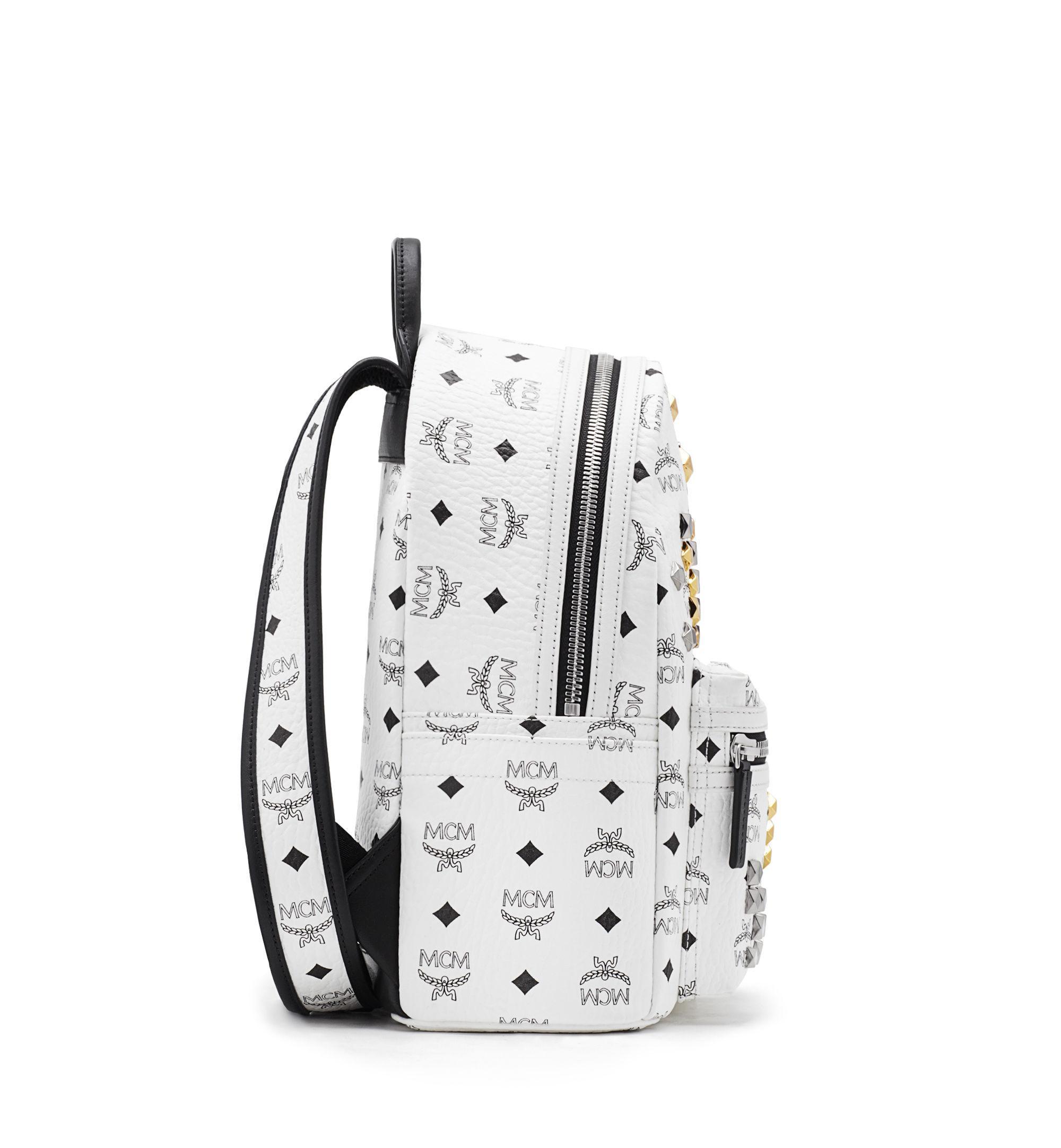 lyst mcm 39 stark 39 backpack in white. Black Bedroom Furniture Sets. Home Design Ideas