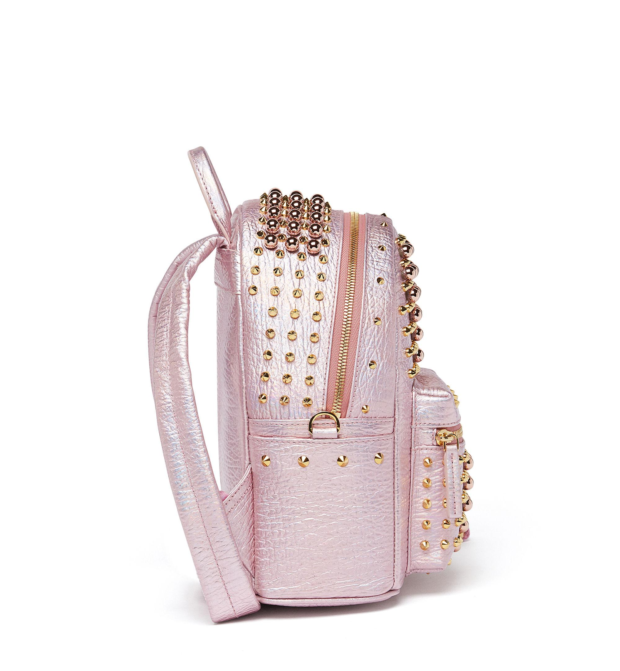 MCM Leather Stark Pearl Studs Backpack in Pink