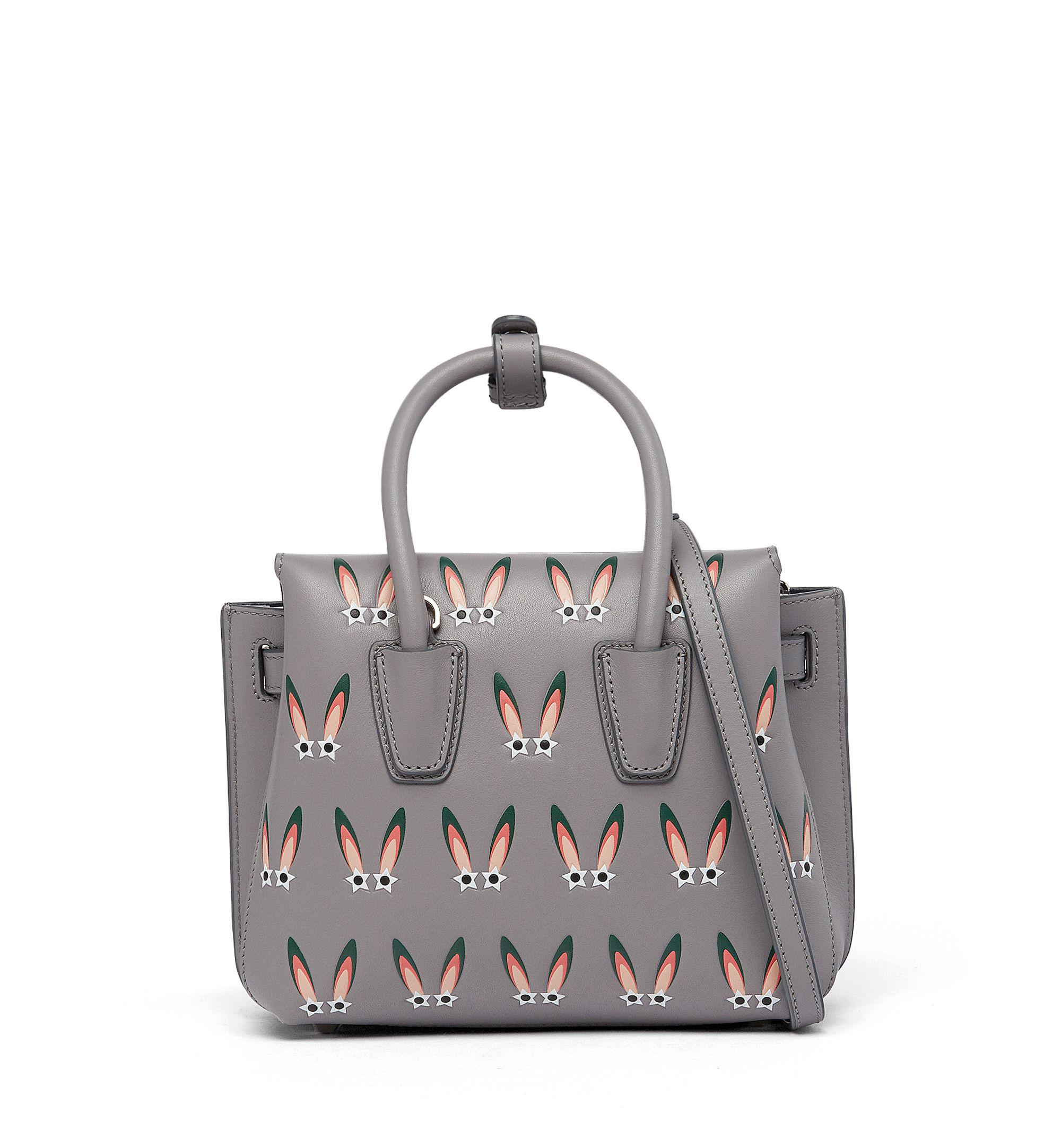 MCM Leather Milla Tote In Star Eyed Bunny Motif in Metallic