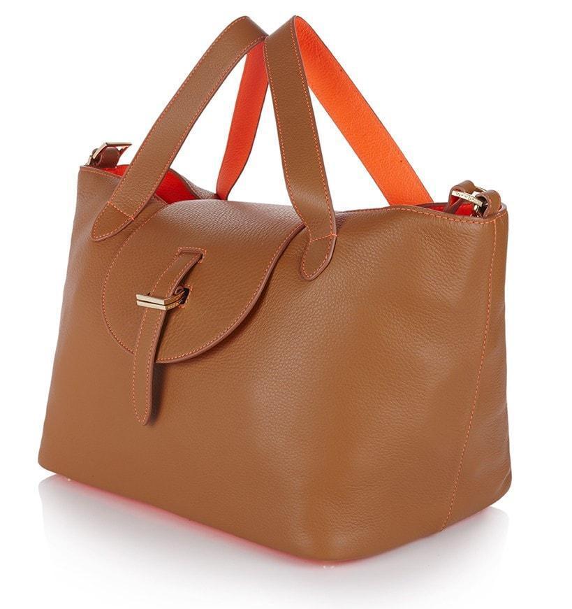 meli melo thela medium tote bag tan fluoro coral in brown lyst. Black Bedroom Furniture Sets. Home Design Ideas