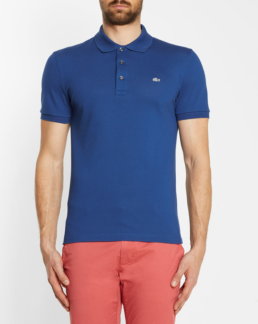 lacoste blue logo slim fit polo shirt in blue for men lyst. Black Bedroom Furniture Sets. Home Design Ideas