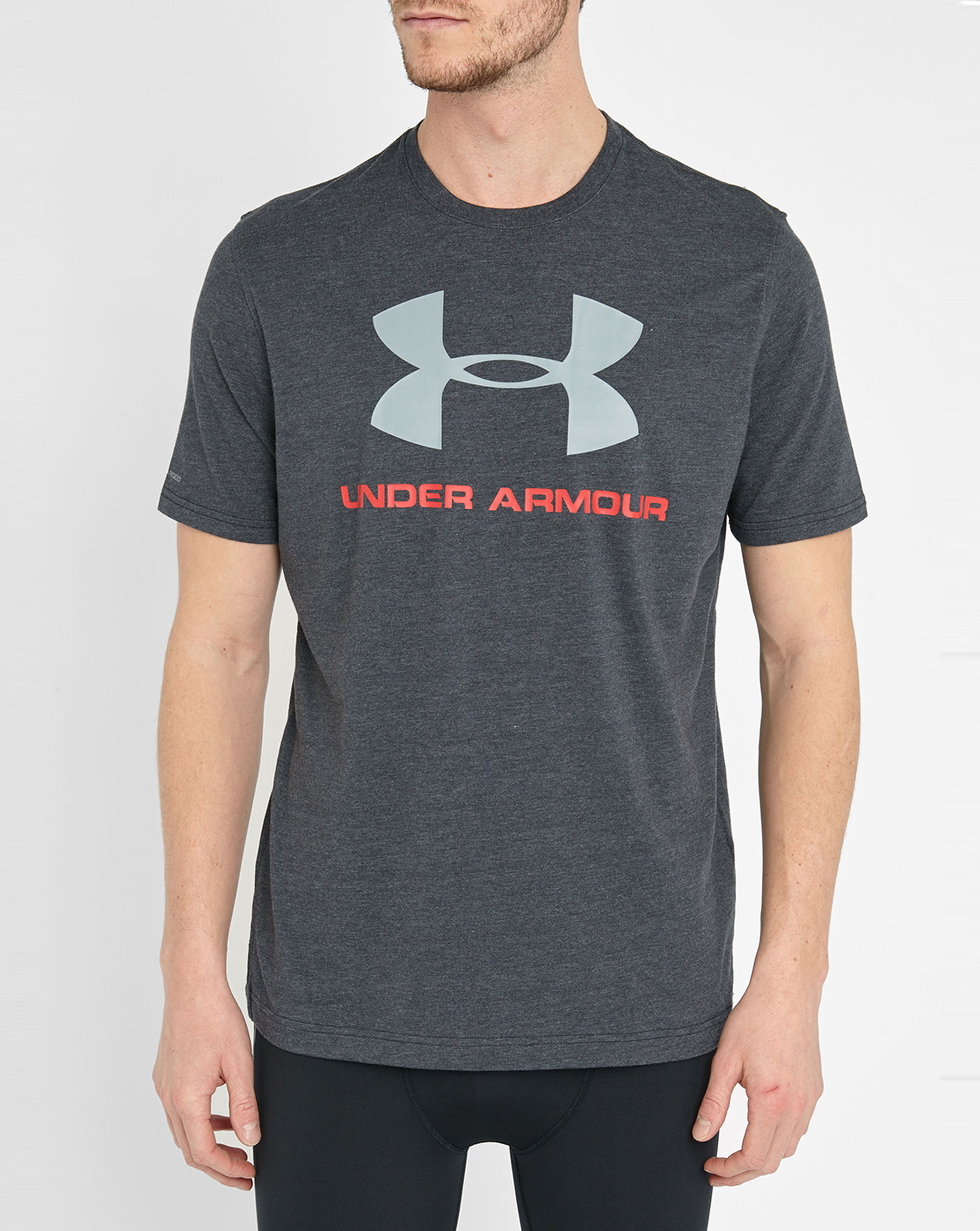 Under Armour Grey Cotton Logo T Shirt In Gray For Men Lyst
