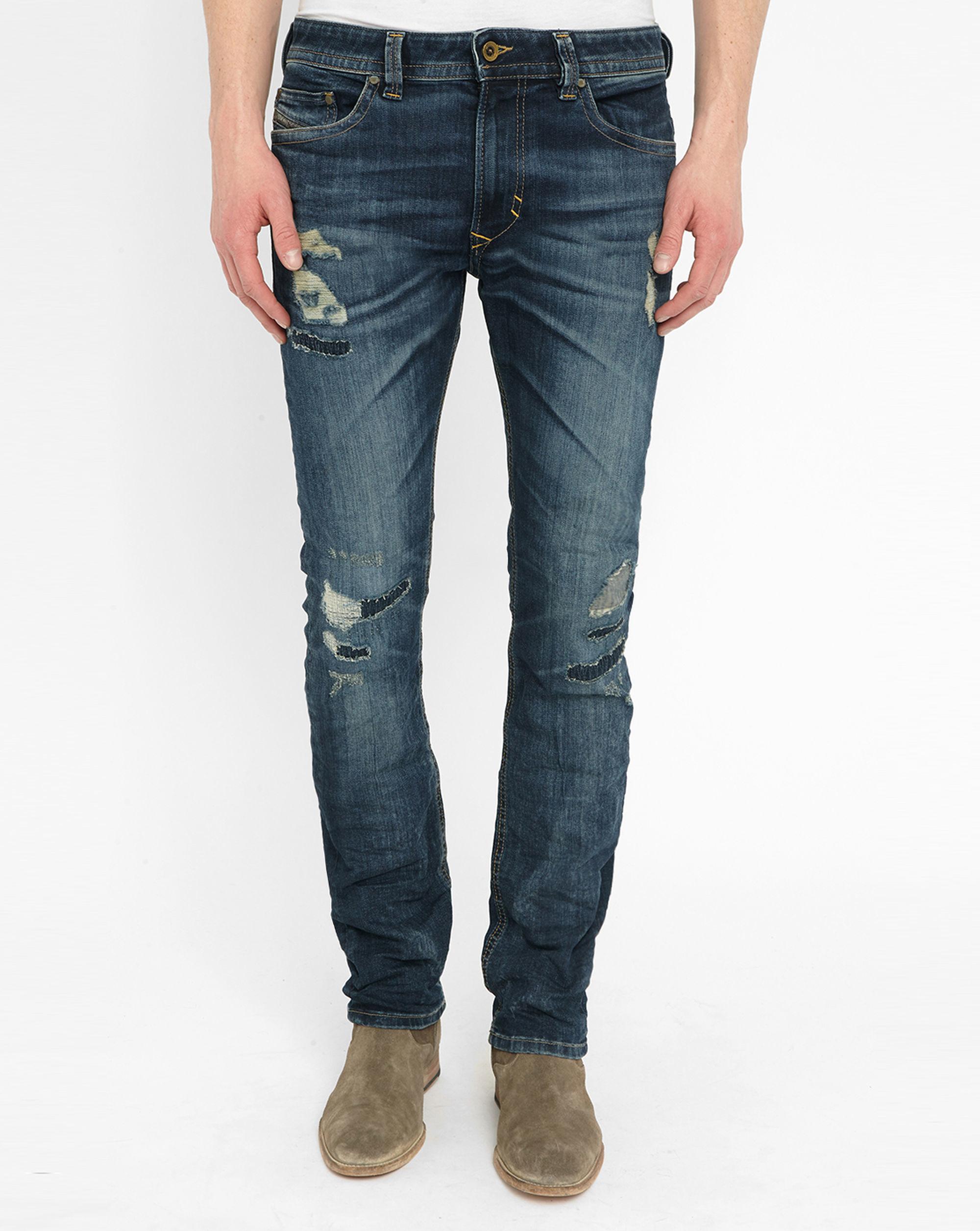 diesel blue thavar destroy skinny jeans in blue for men lyst