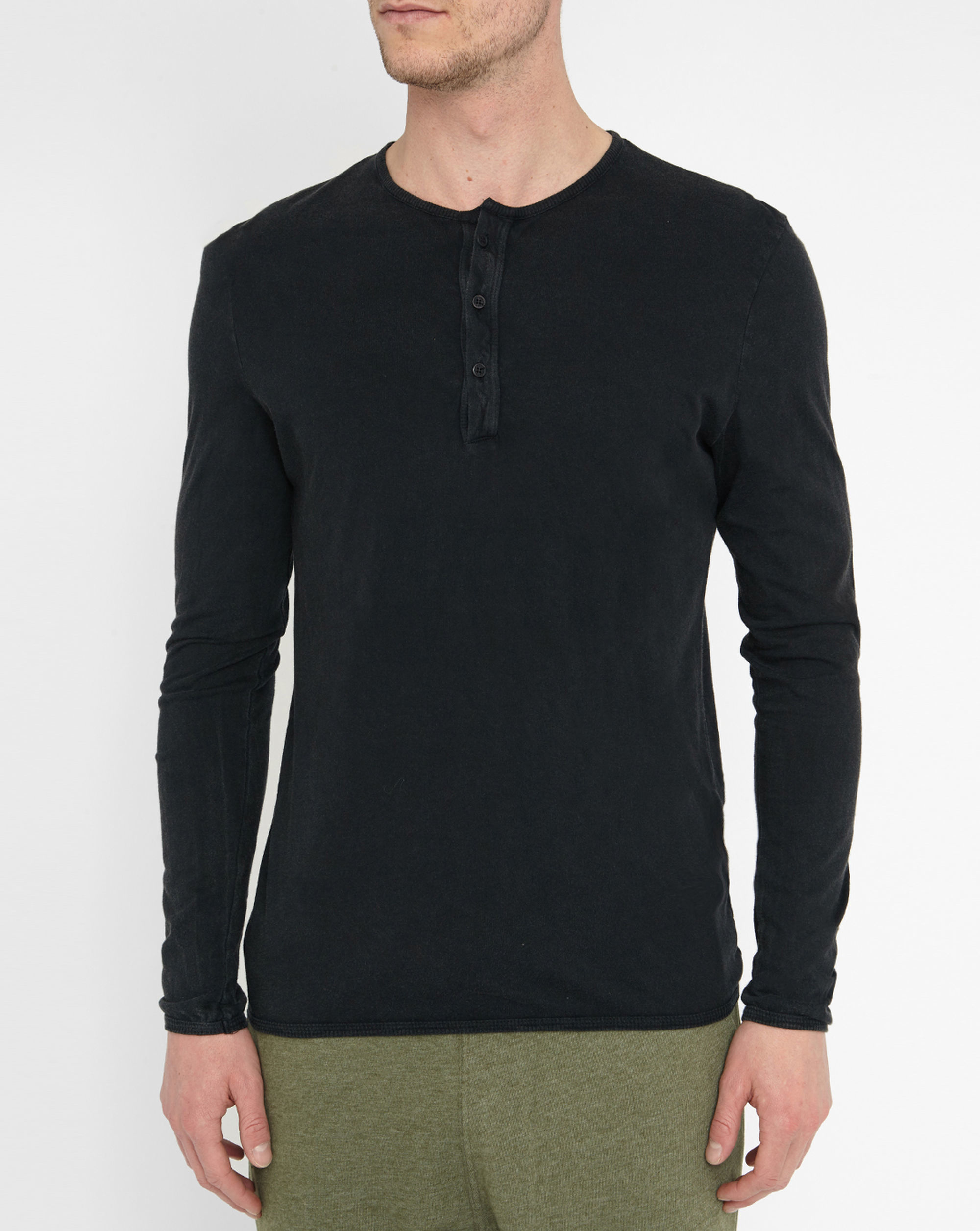 American vintage charcoal grandad collar t shirt in black Mens grandad collar shirt