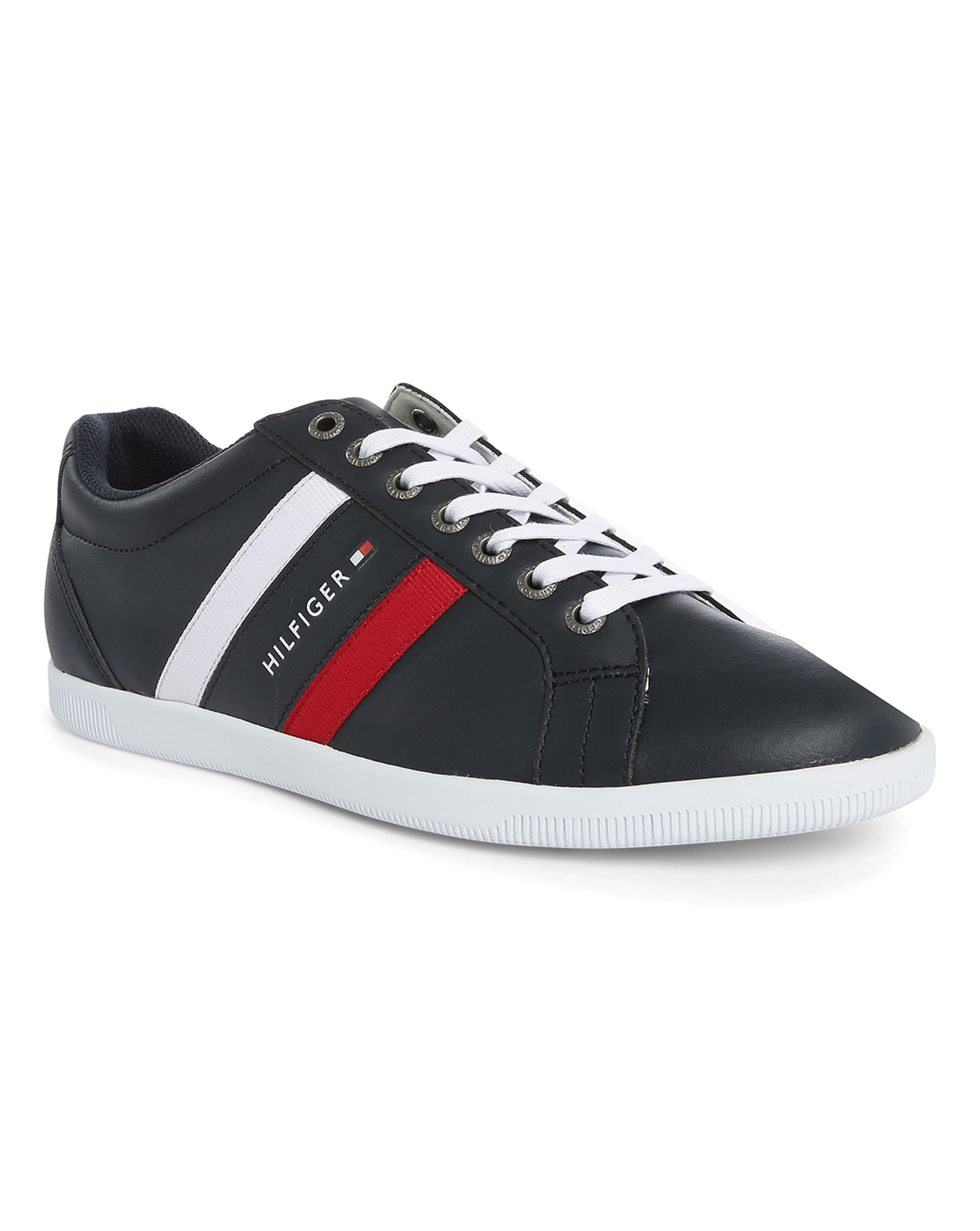 tommy hilfiger navy denzel leather sneakers in black for men blue lyst. Black Bedroom Furniture Sets. Home Design Ideas