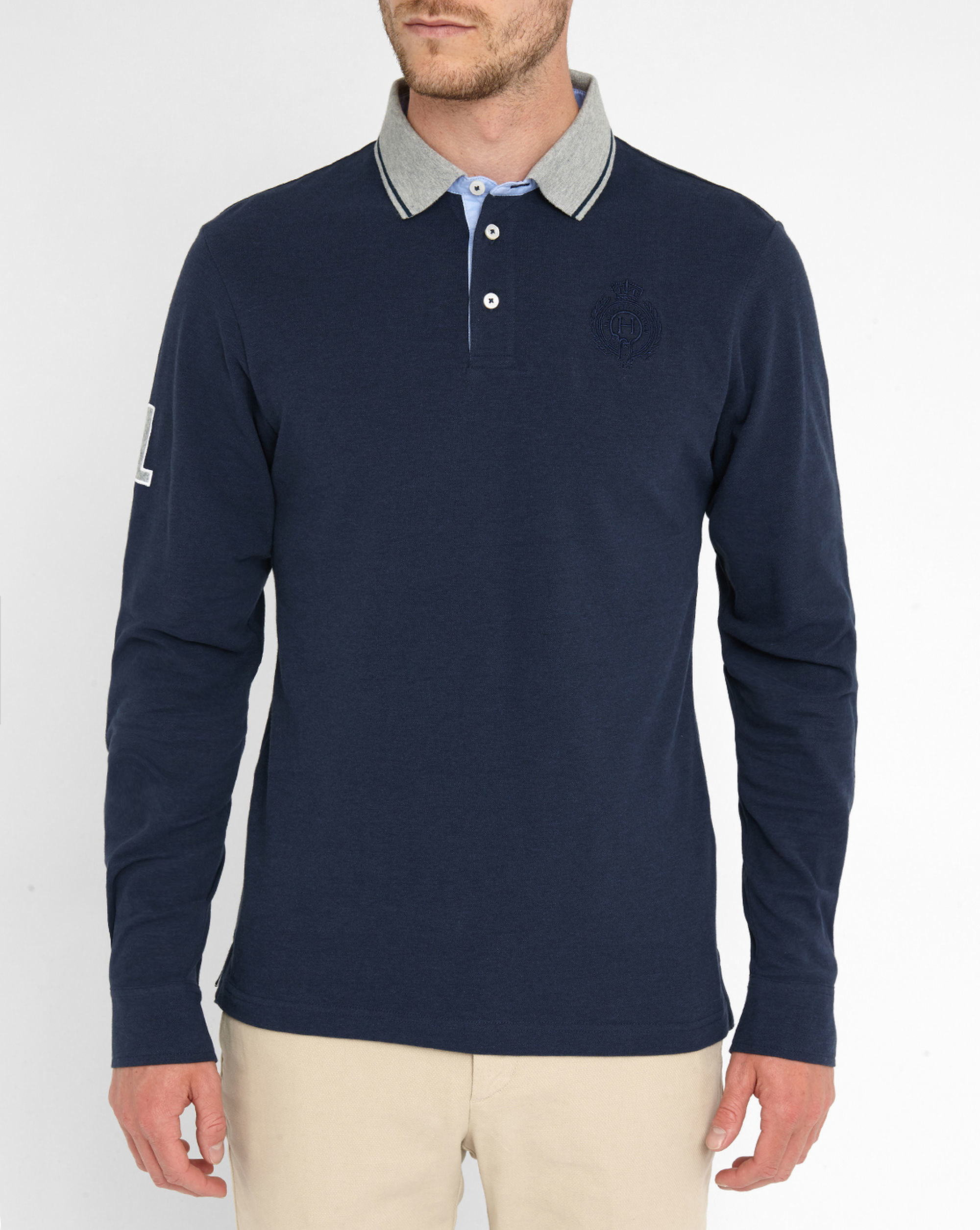 Hackett navy embroidered logo elbow patch ls polo shirt in