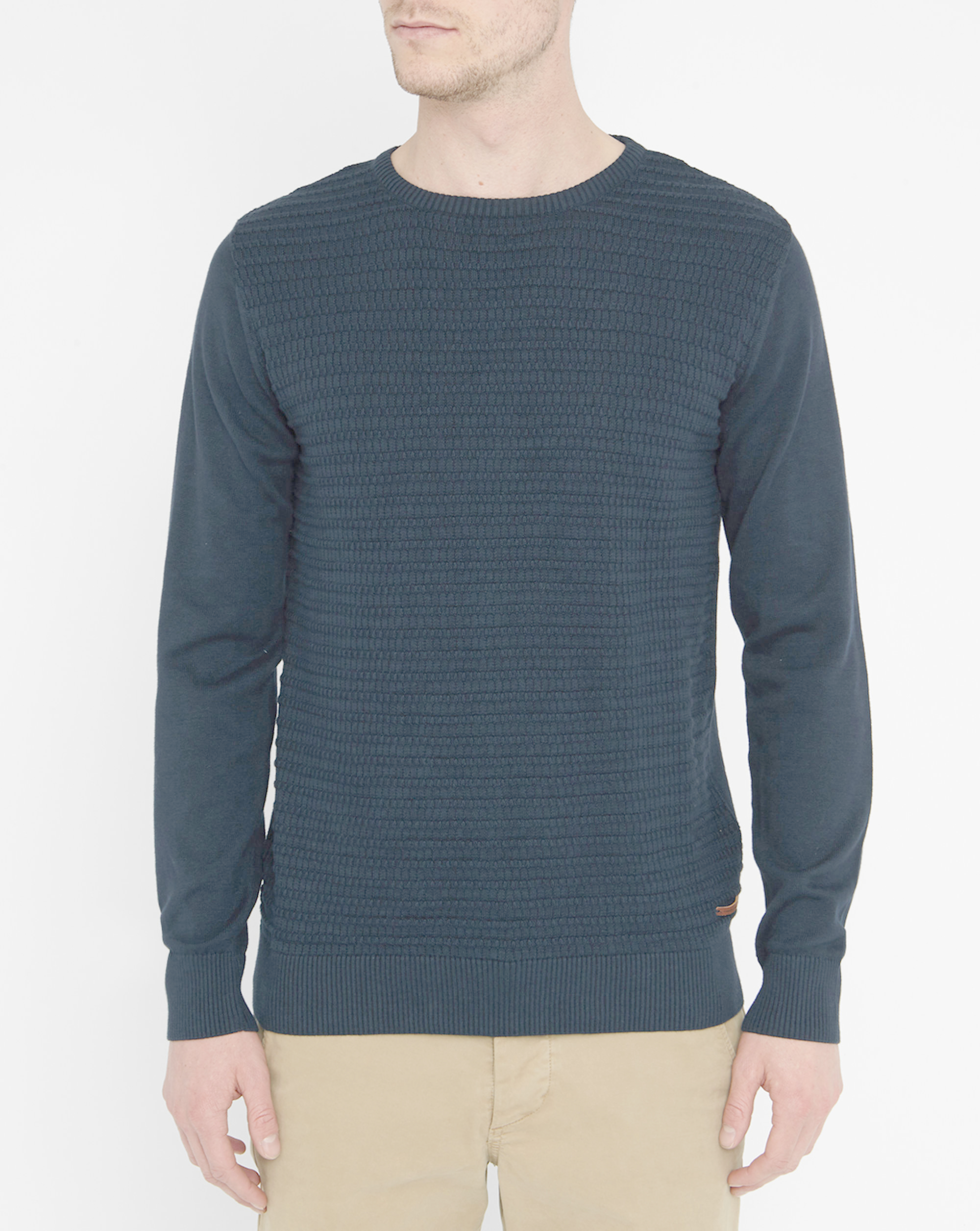 knowledge cotton apparel navy textured organic cotton round neck sweater in black for men lyst. Black Bedroom Furniture Sets. Home Design Ideas