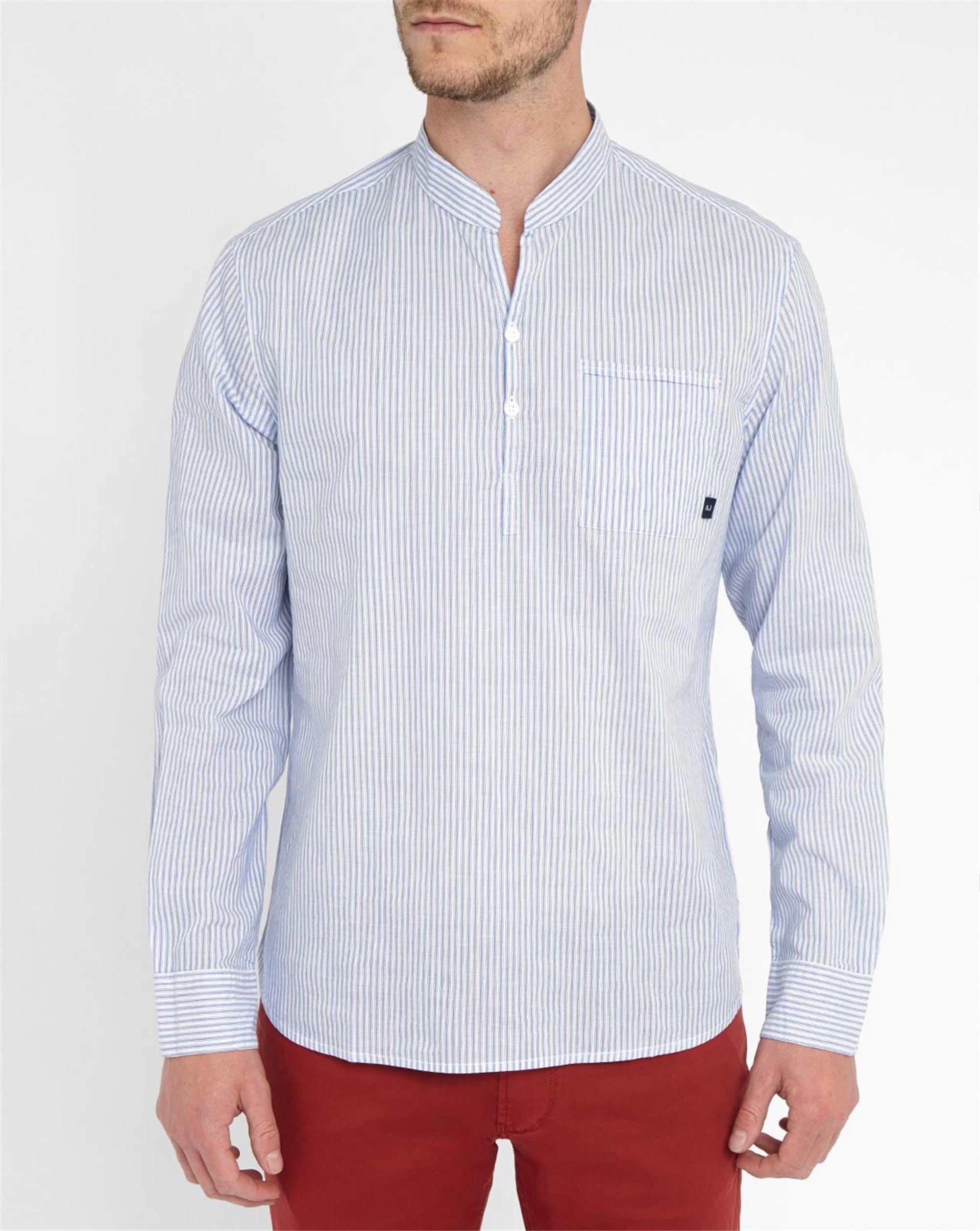 Armani jeans sky blue and white grandad collar shirt in Mens grandad collar shirt