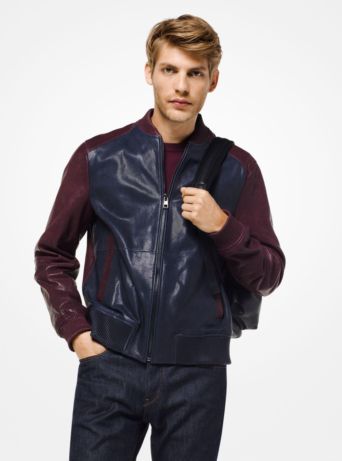 414889737417 Michael Kors Color-block Nappa Leather Bomber Jacket in Blue for Men ...