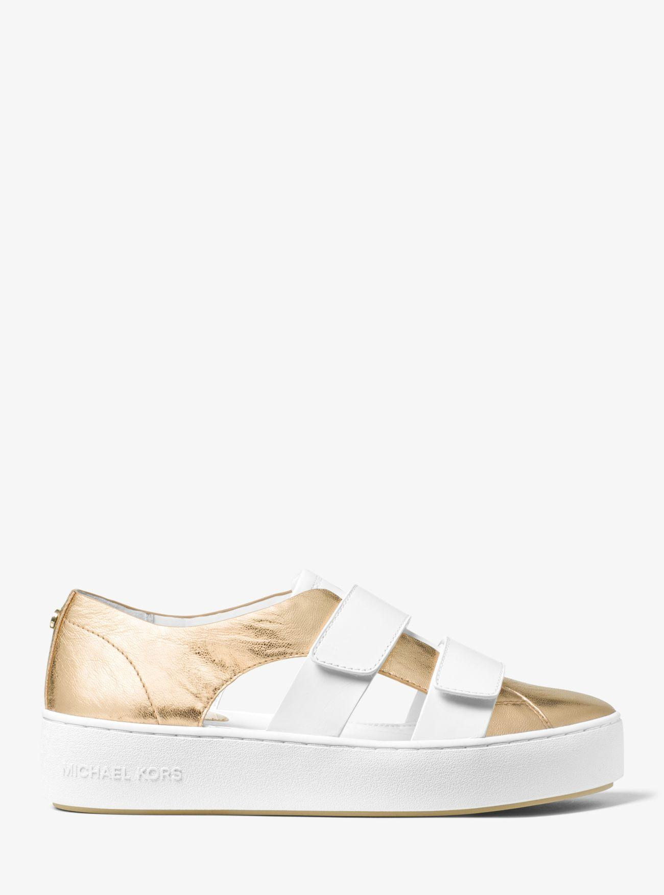 Michael Kors Beckett Leather Sneaker in White/Pale Gold (White)