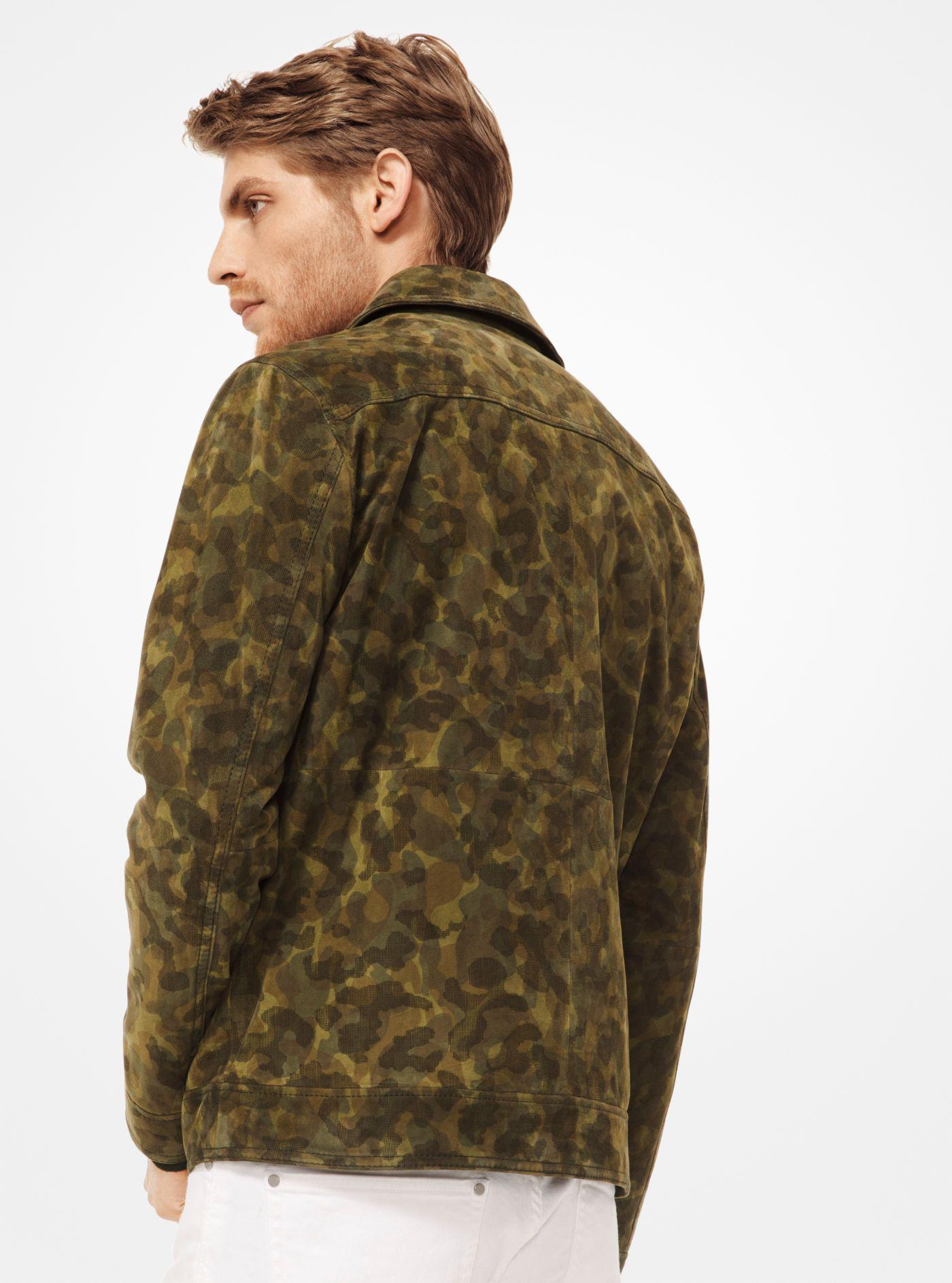 fdc5f87880e8 Michael Kors - Green Camouflage Suede Utility Jacket for Men - Lyst. View  fullscreen