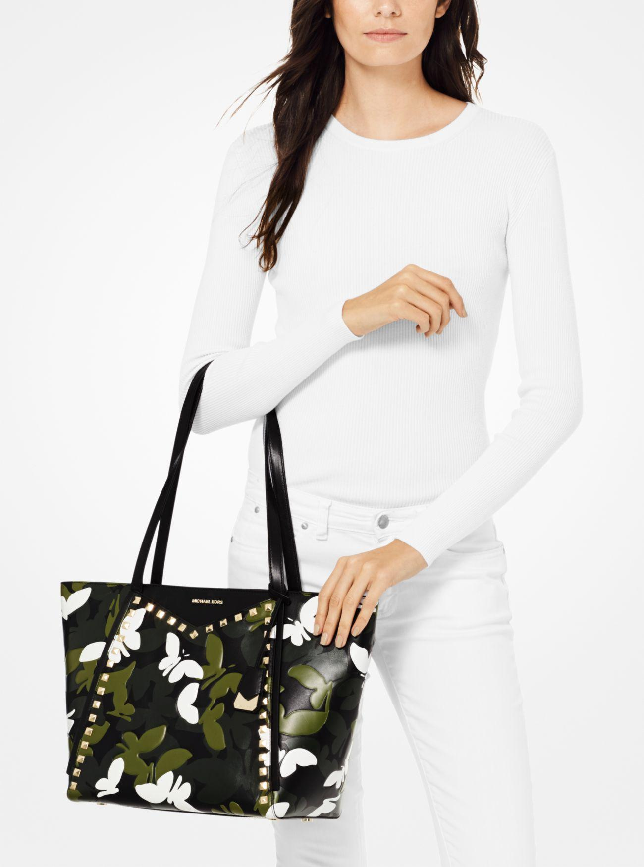 2990102acd945f Michael Kors - Black Whitney Large Butterfly Camo Leather Tote Bag - Lyst.  View fullscreen