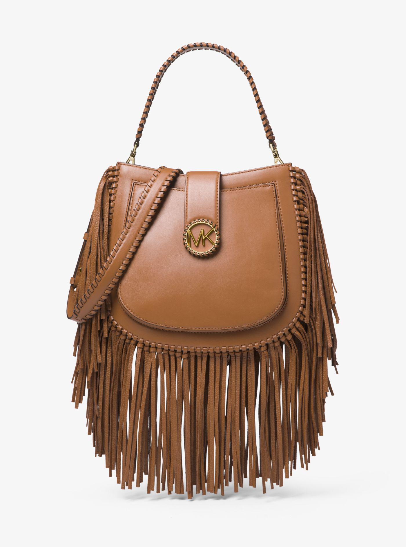 8c2c813dd76e1 ... germany lyst michael kors lillie medium fringed leather shoulder bag in  brown 28931 026fb