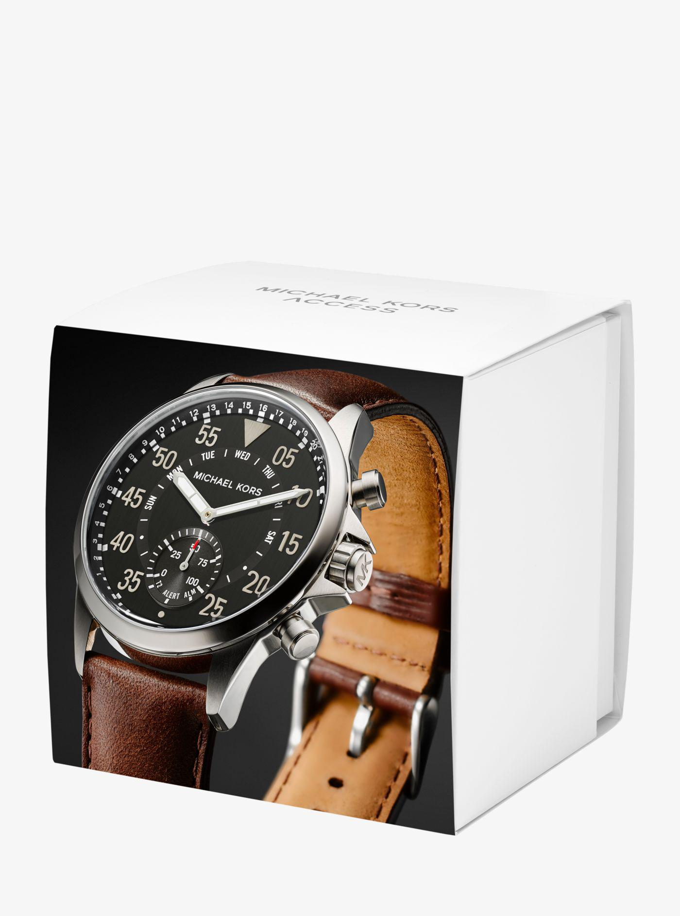 e999fe0058c4 Lyst - Michael Kors Gage Silver-tone And Leather Hybrid Smartwatch ...