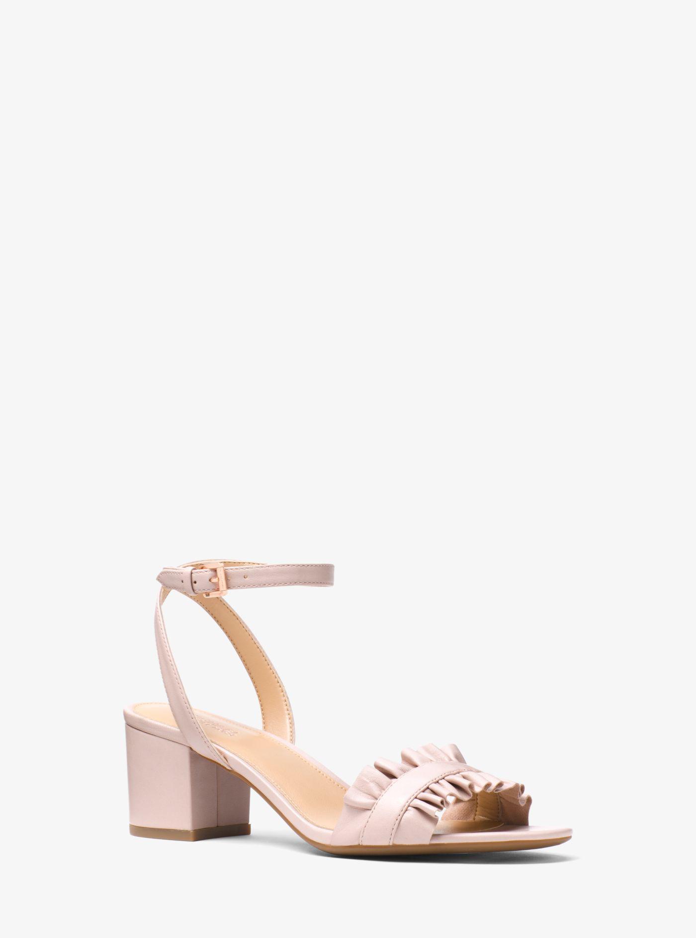 7918900c423 Michael Kors Pink Bella Ruffled Leather Sandal