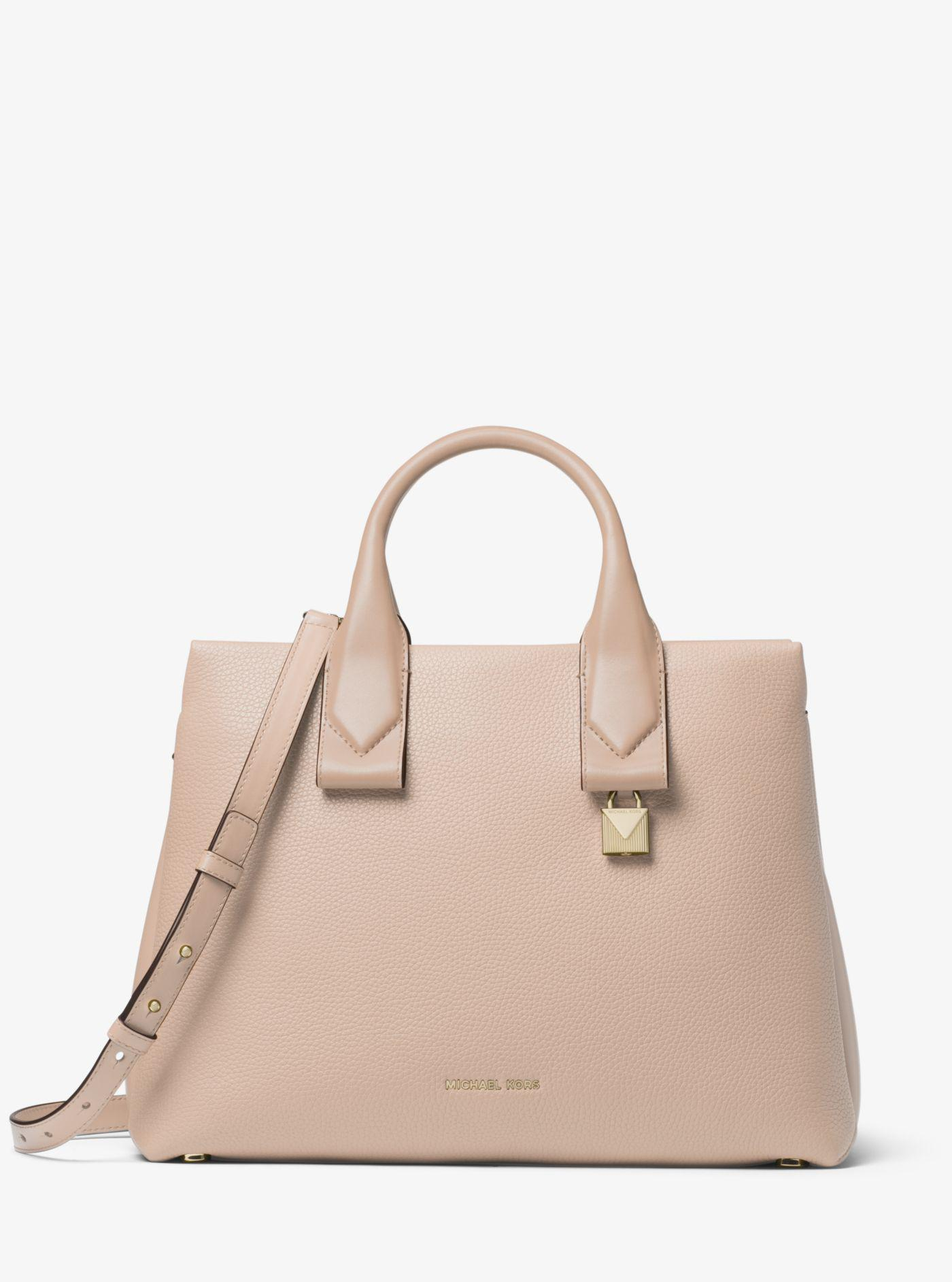 84601c500246 Lyst - Michael Kors Rollins Large Pebbled Leather Satchel in Pink