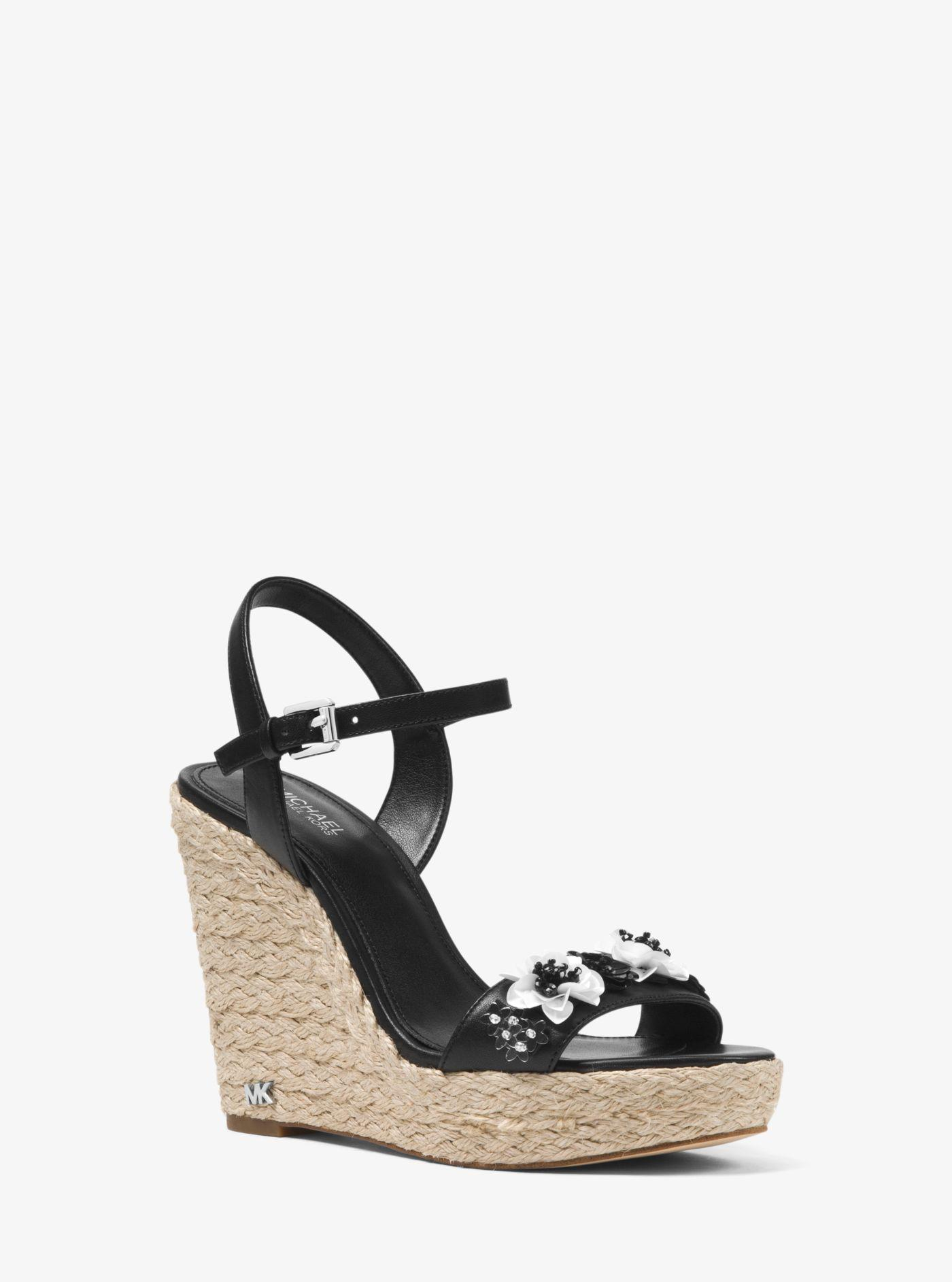 MICHAEL Michael Kors Jill Sequin Floral Detail Espadrille Wedge Sandals bhZ8n