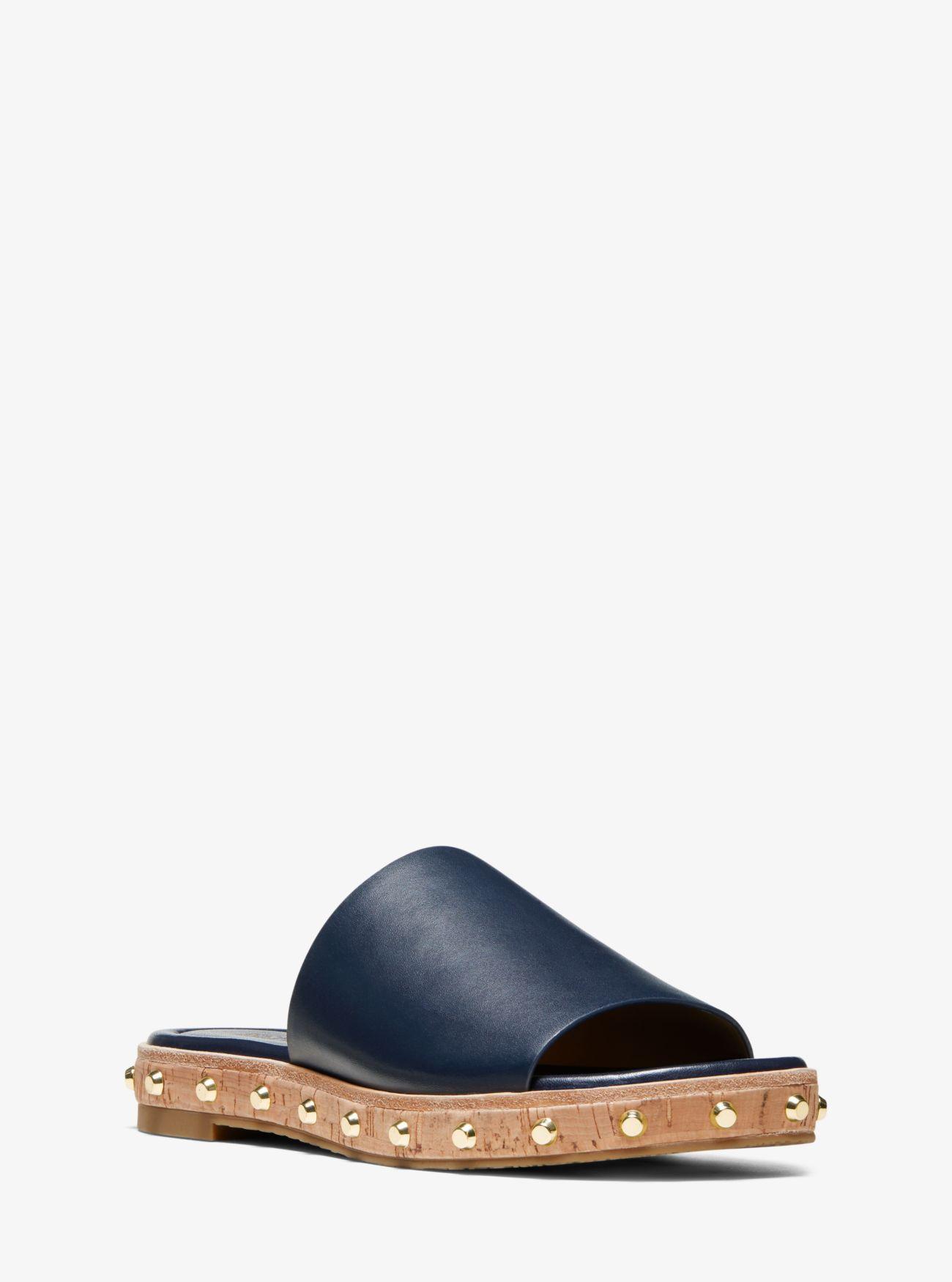 176f0c1b5fe6 Lyst - Michael Kors Ellen Leather Slide Sandal in Blue