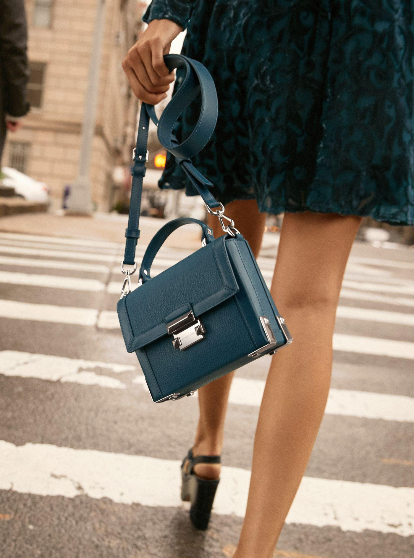 82048ce082027 Lyst - Michael Kors Jayne Small Pebbled Leather Trunk Bag in Blue