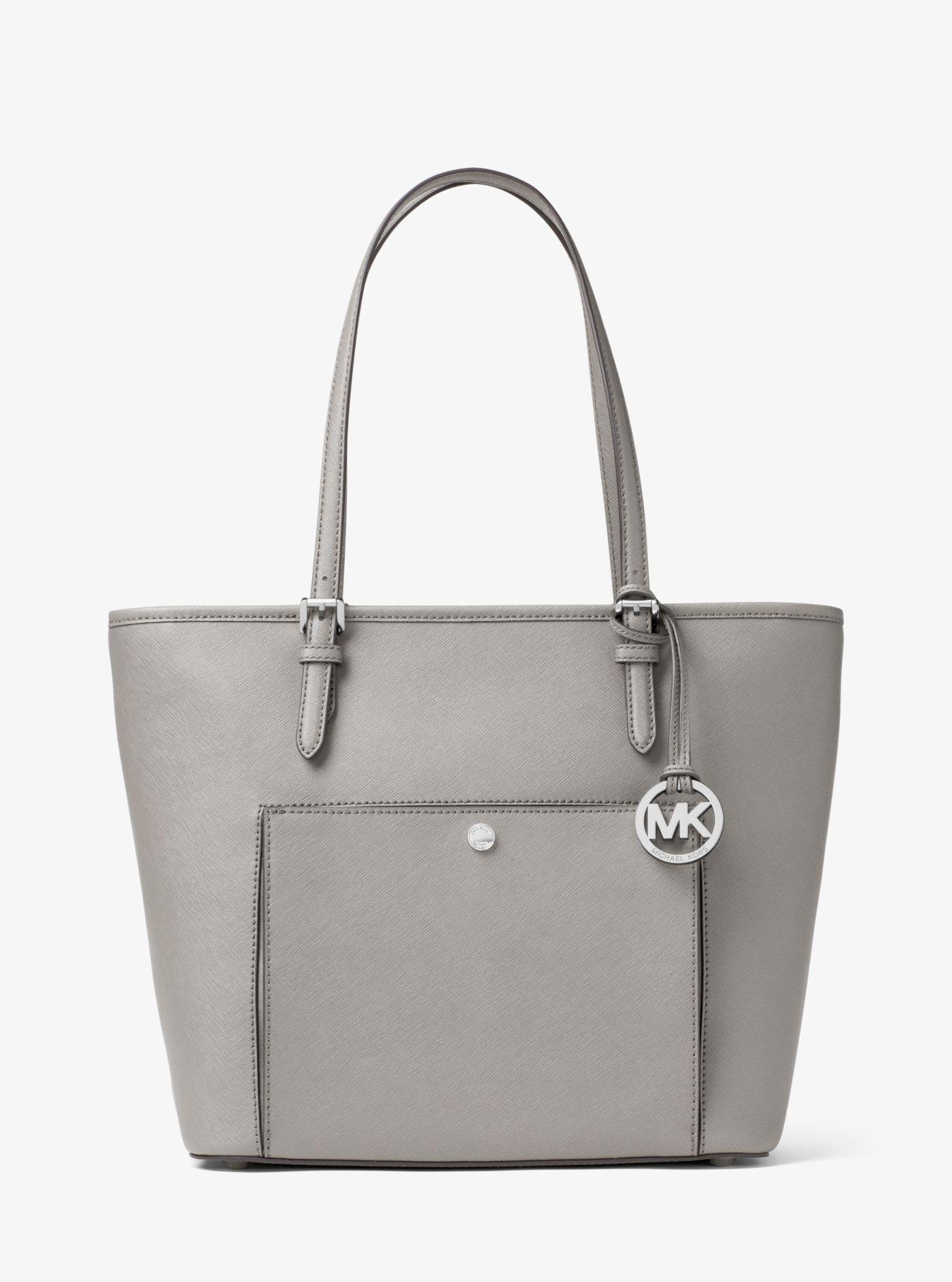 ... Saffiano T  low cost c20e8 8df13 Michael Kors. Womens Gray Jet Set  Travel Large Leather Tote ... cd60798161fcc