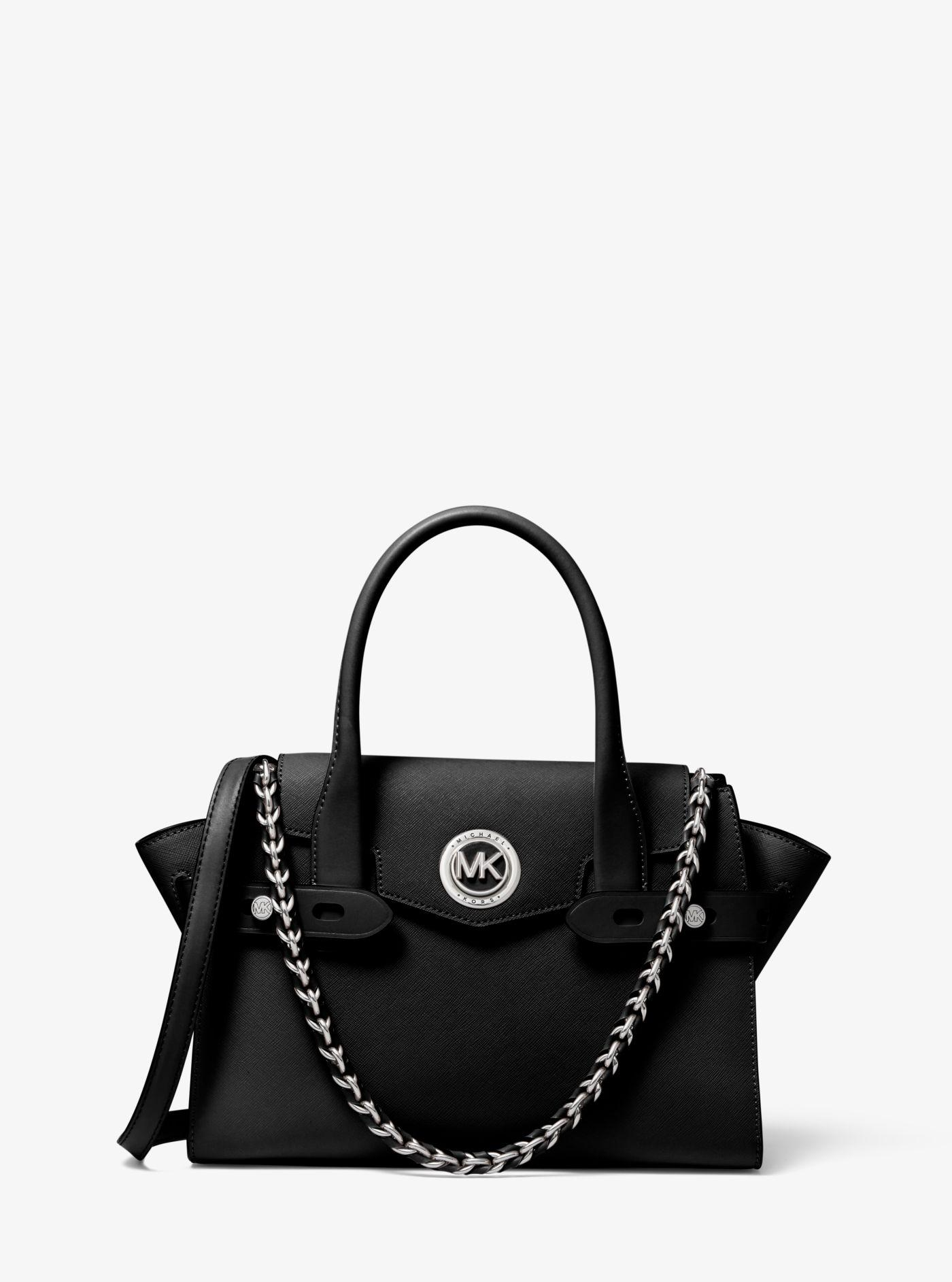 Carmen Small Saffiano Leather Belted Satchel