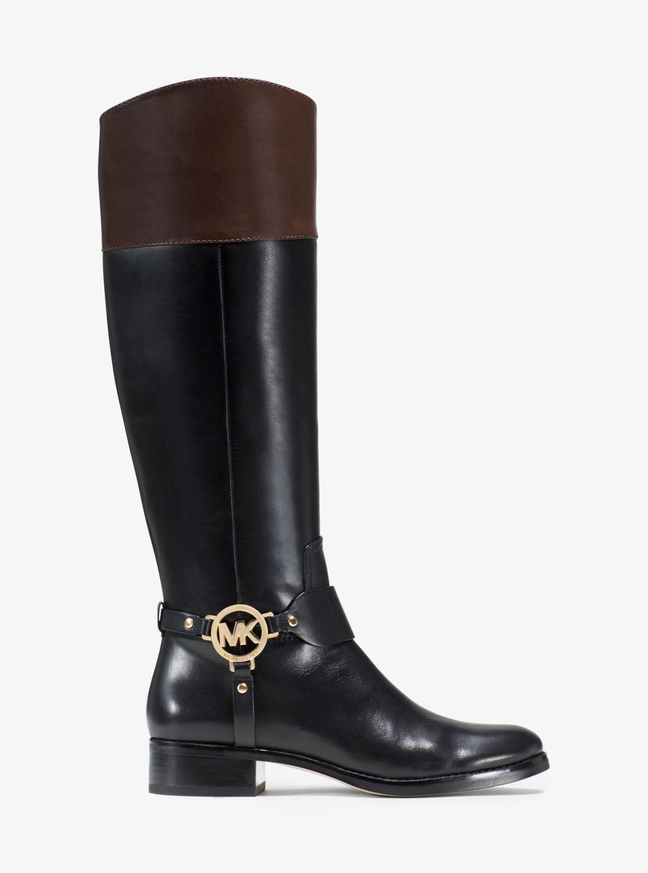 Michael Kors Fulton Leather Riding Boot in Black