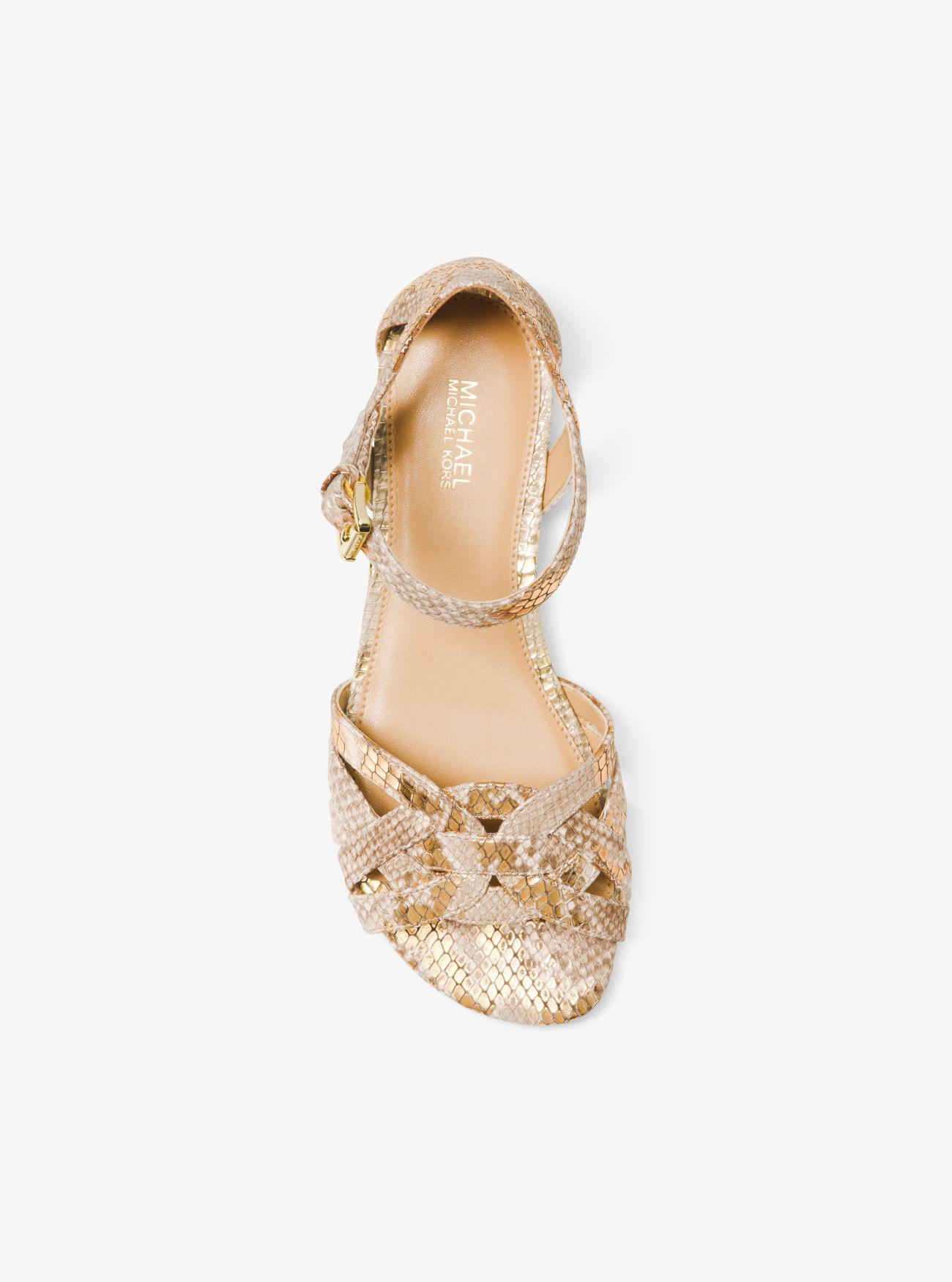 Michael Kors Annaliese Metallic Embossed Leather Sandal Lyst