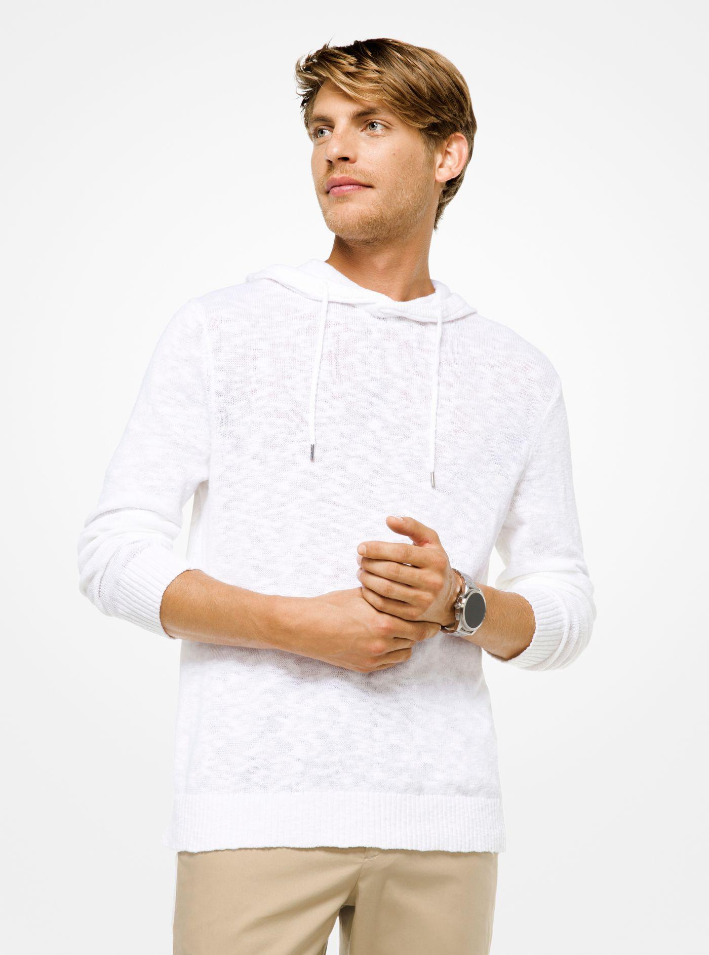 b41af4533cb95 Lyst - Michael Kors Cotton And Linen Hoodie in White for Men