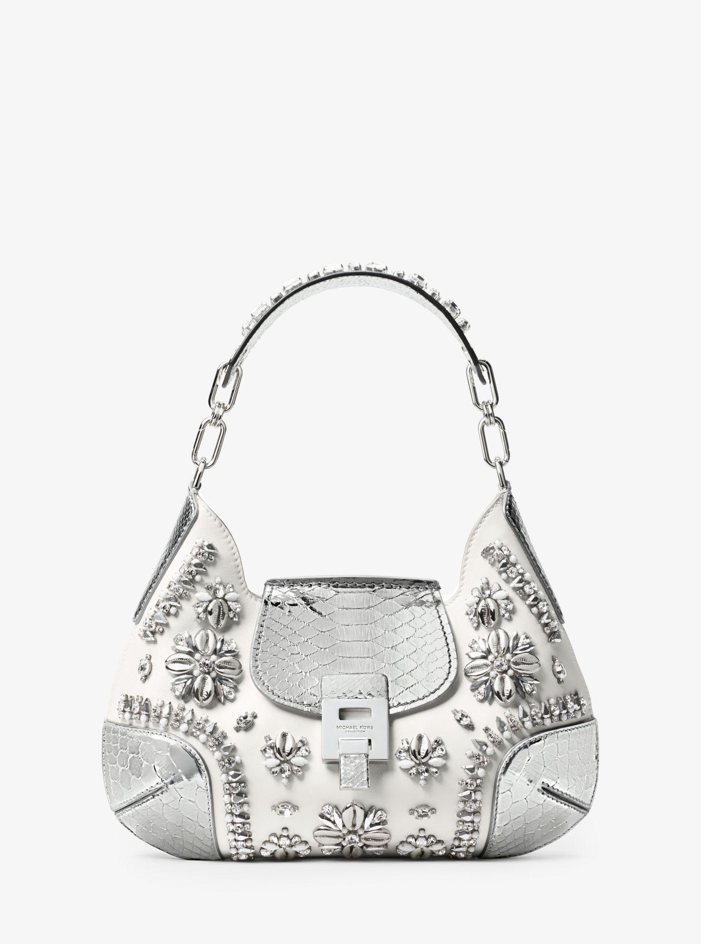fc5661f3bd4a13 Michael Kors Bancroft Medium Embroidered Calf Leather Shoulder Bag ...