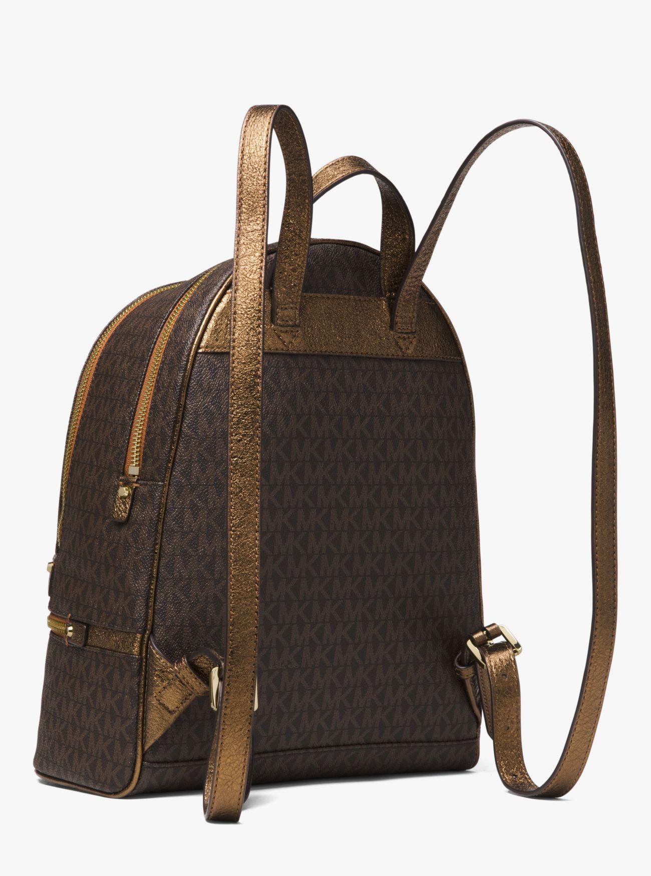 Michael Kors Canvas Rhea Medium Logo Backpack